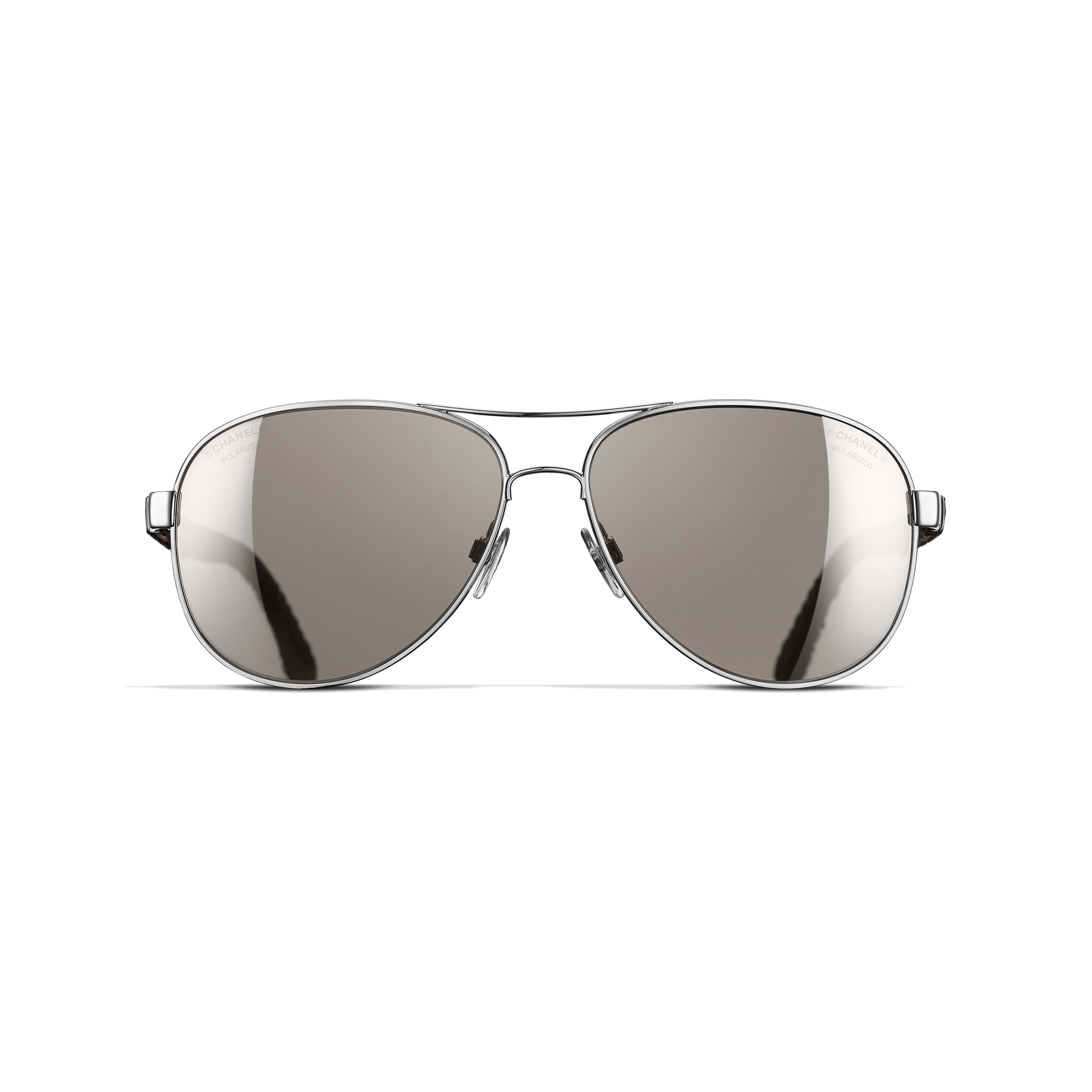 Pilot Sunglasses Metal, Rubber & Denim Silver -                                                    view 2 - see full sized version