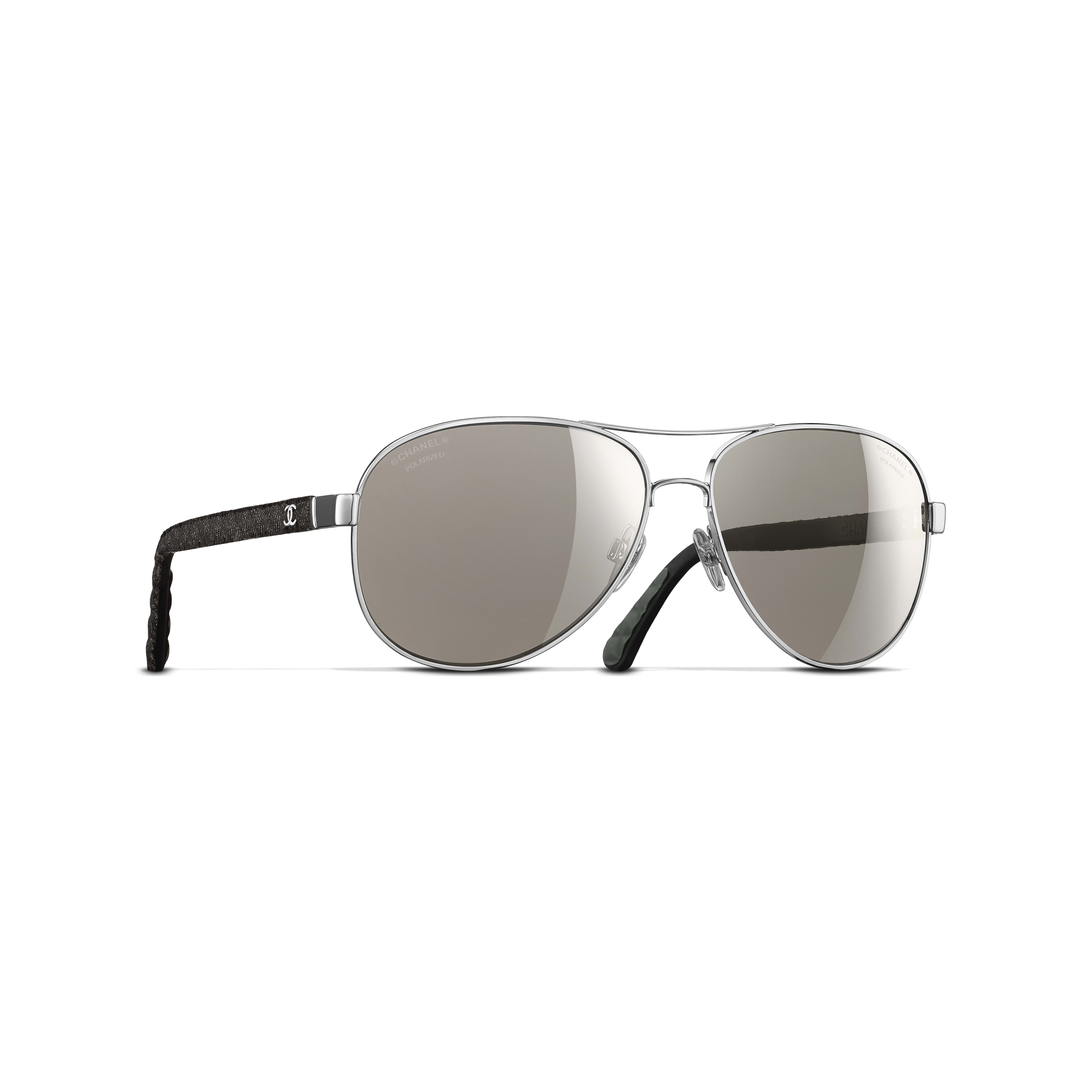 Pilot Sunglasses Metal, Rubber & Denim Silver -                                               view 1 - see full sized version