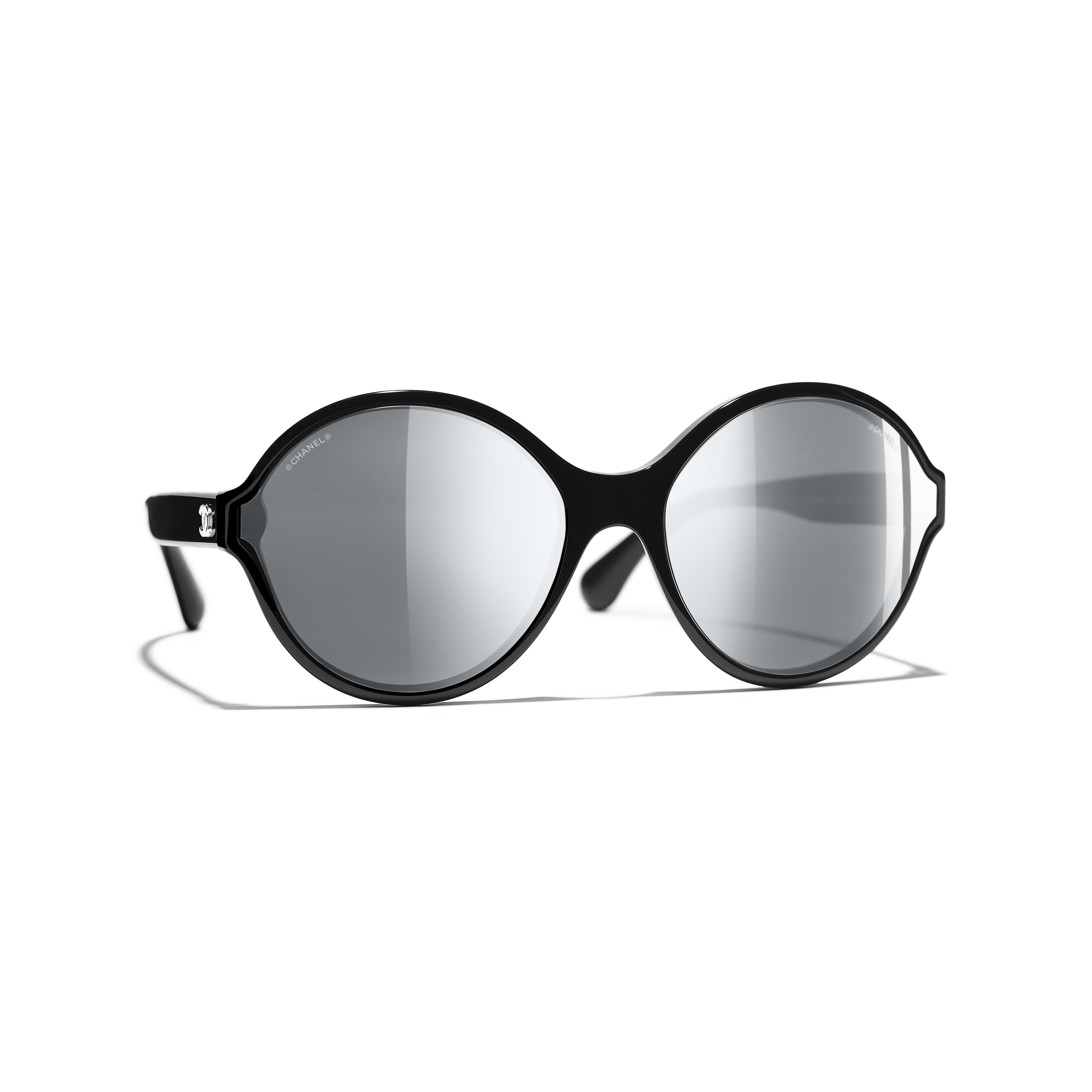 Round Sunglasses - Black - Acetate - Default view - see full sized version