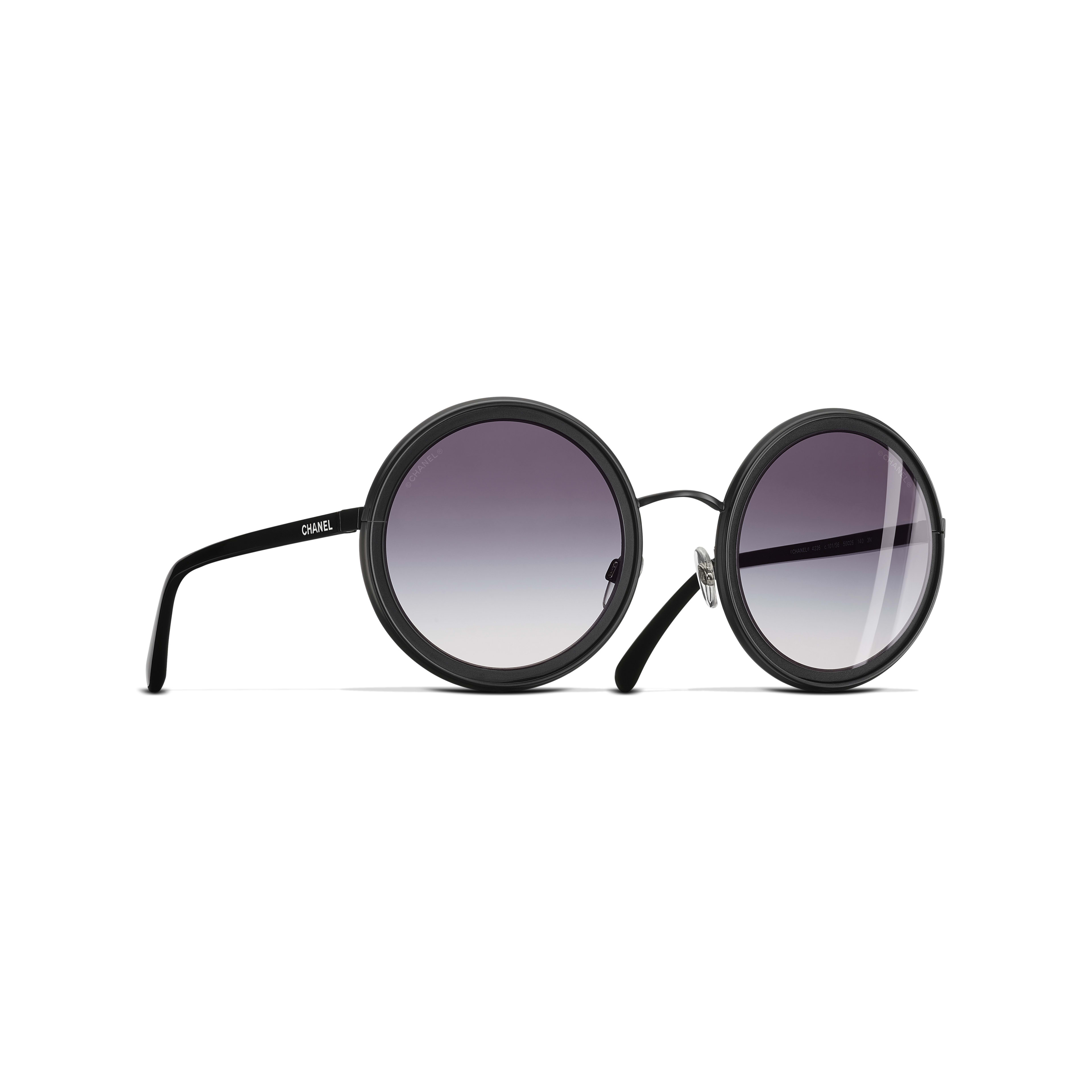 Round Sunglasses Metal Black -                                               view 1 - see full sized version