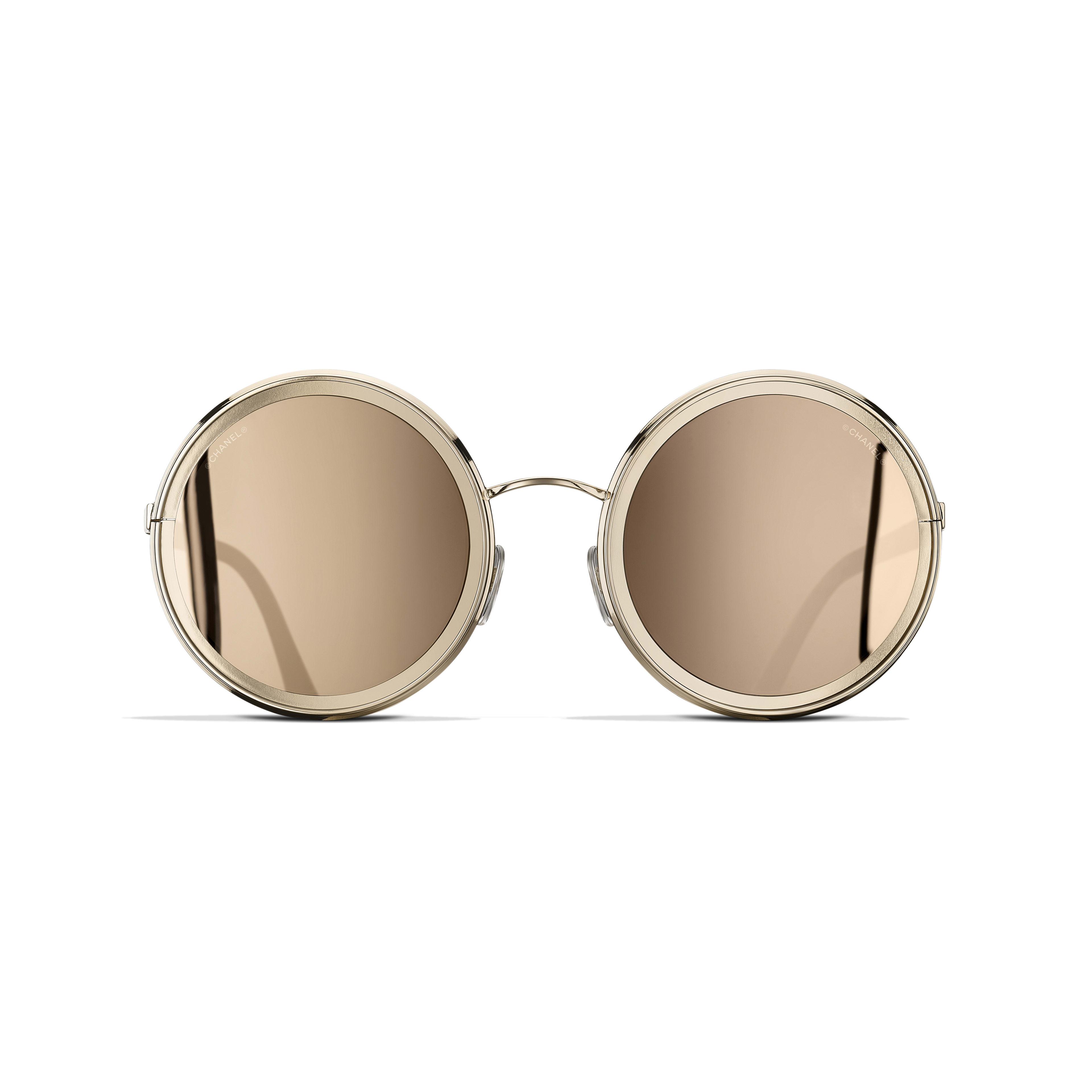 Round Sunglasses - Gold - Metal - 18-Karat Gold Lenses - Alternative view - see full sized version