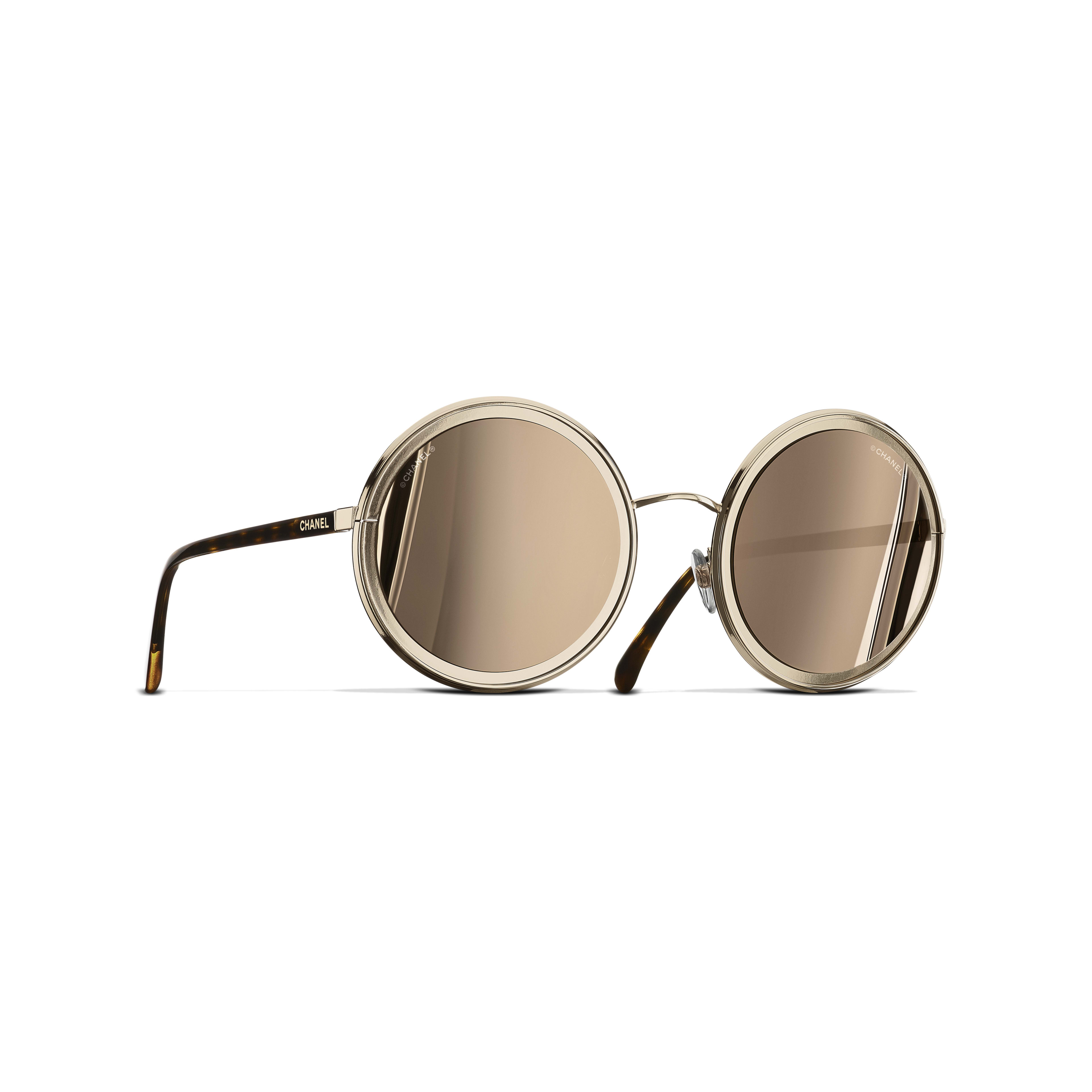 Round Sunglasses - Gold - Metal - 18-Karat Gold Lenses - Default view - see full sized version