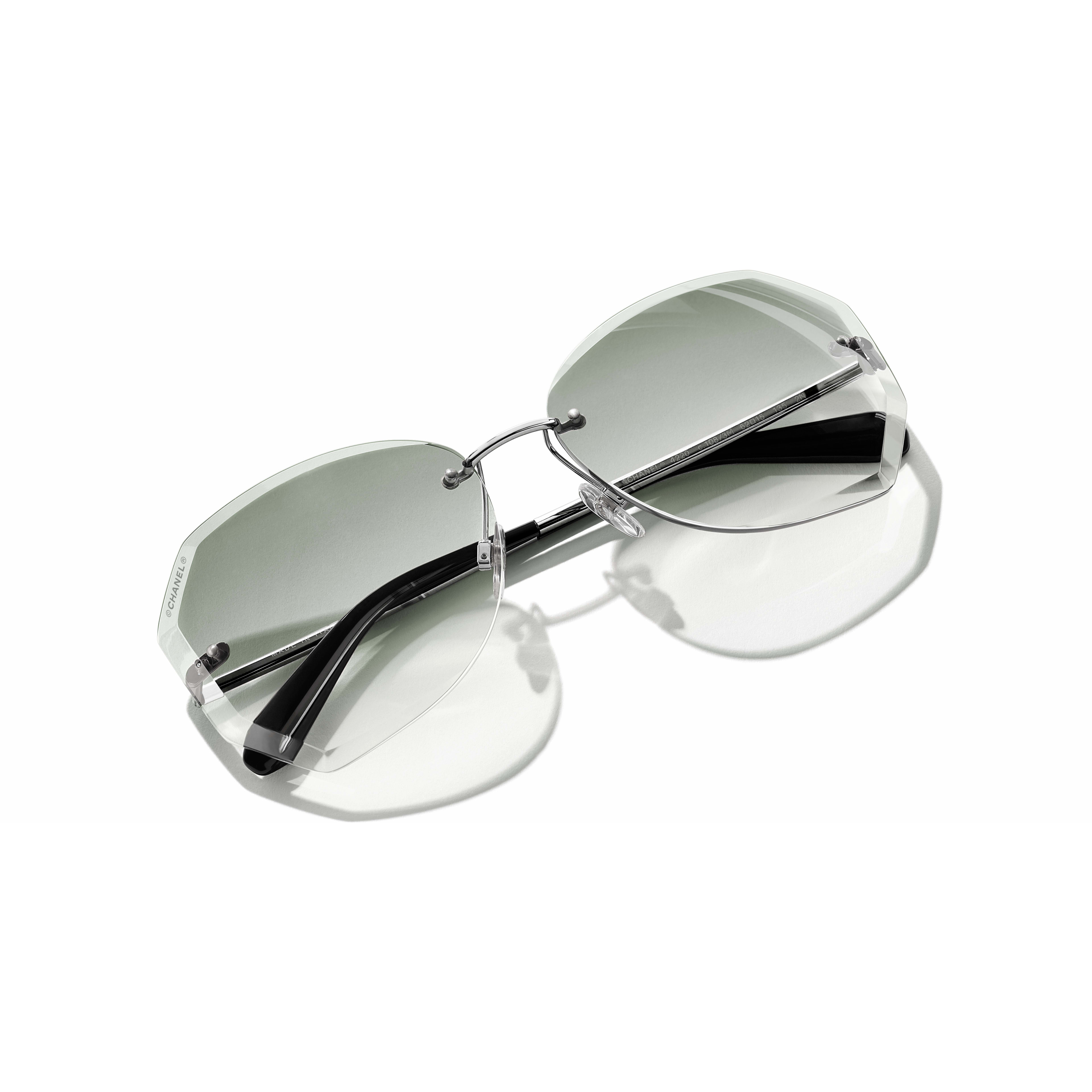 Round Sunglasses Metal Silver & Green -                                                               view 1 - see full sized version
