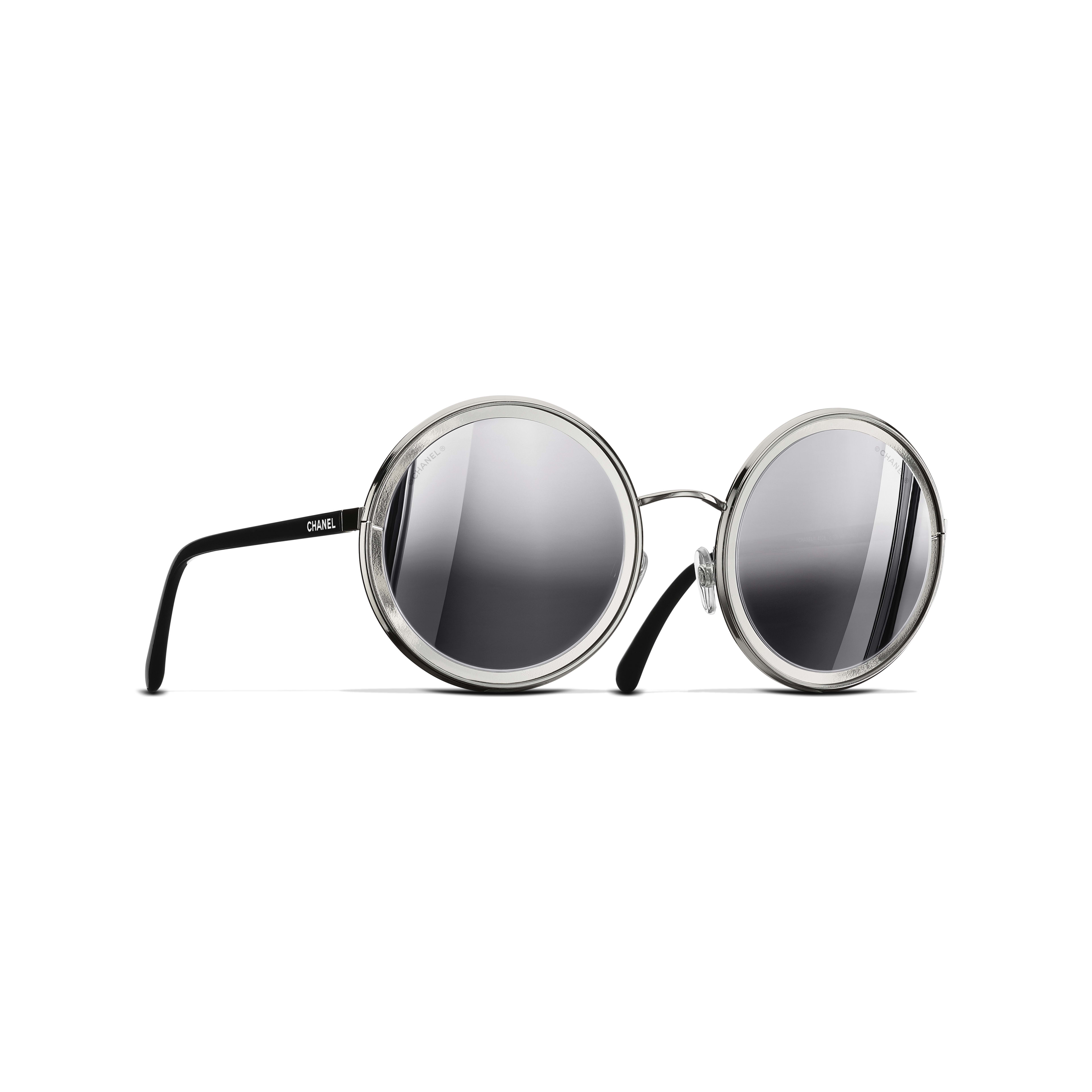 Round Sunglasses Metal Silver -                                               view 1 - see full sized version