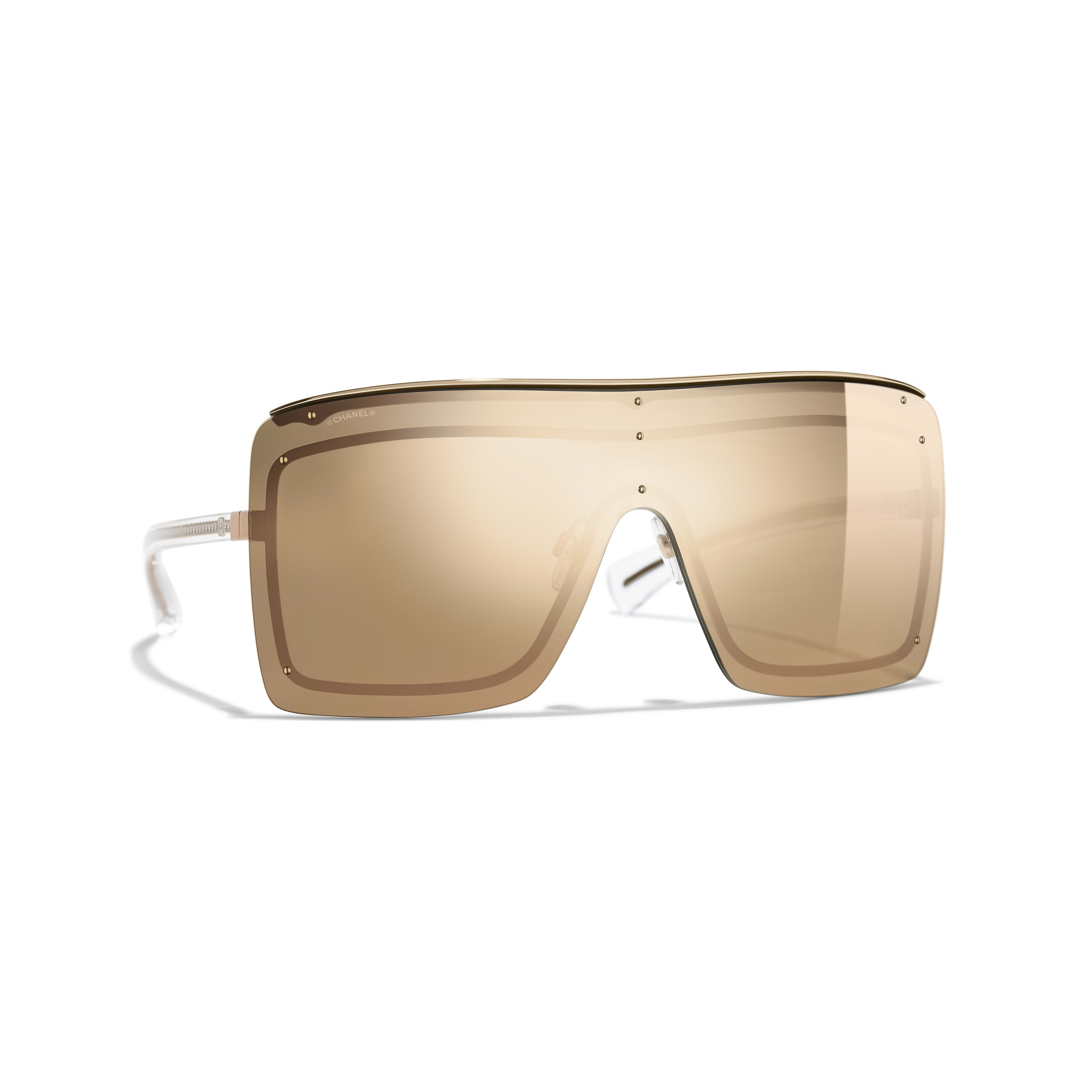Shield Sunglasses Metal - 18-Karat Gold Lenses Gold -                                               view 1 - see full sized version