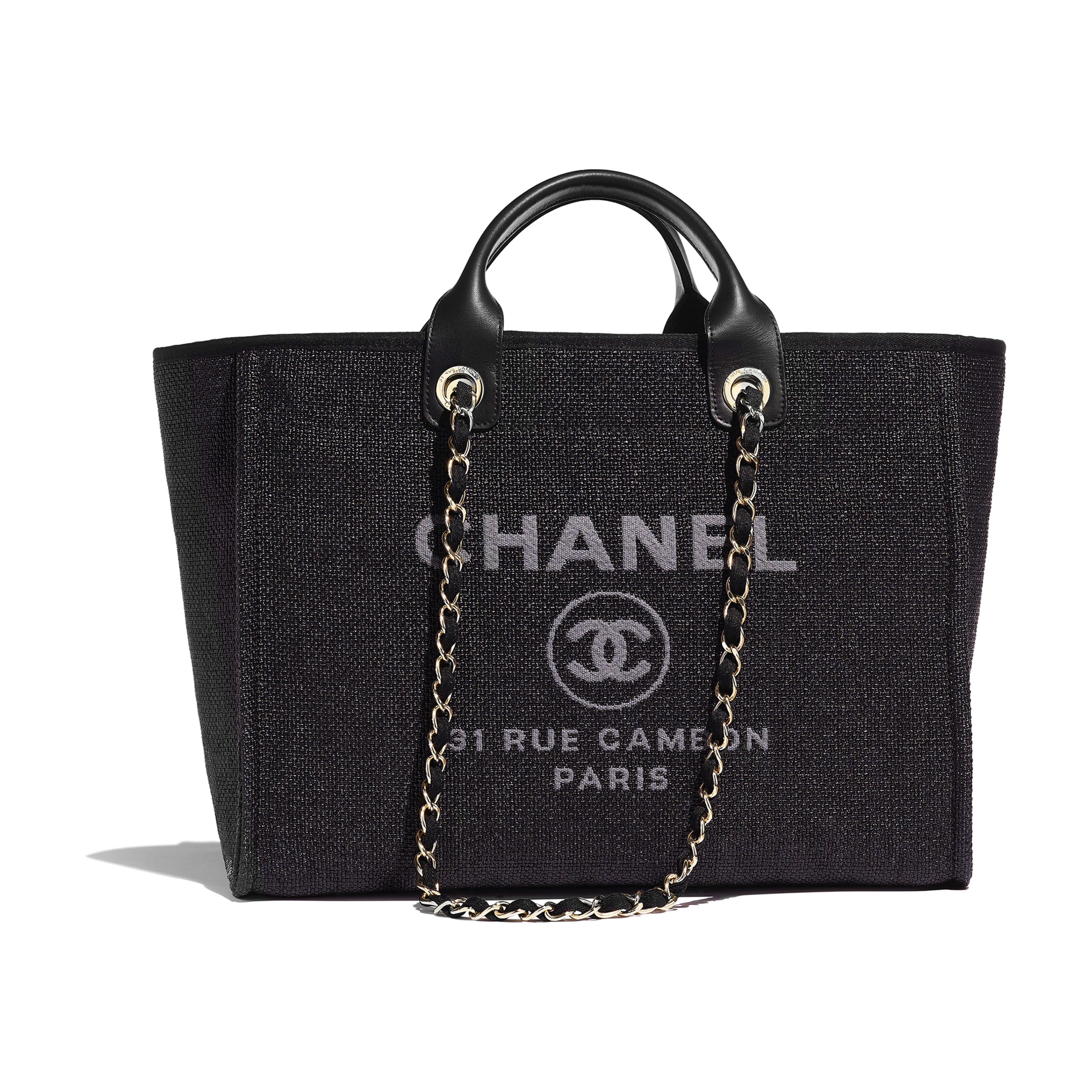 Shopping Bag - Black - Cotton, Nylon, Calfskin & Gold-Tone Metal - Default view - see full sized version