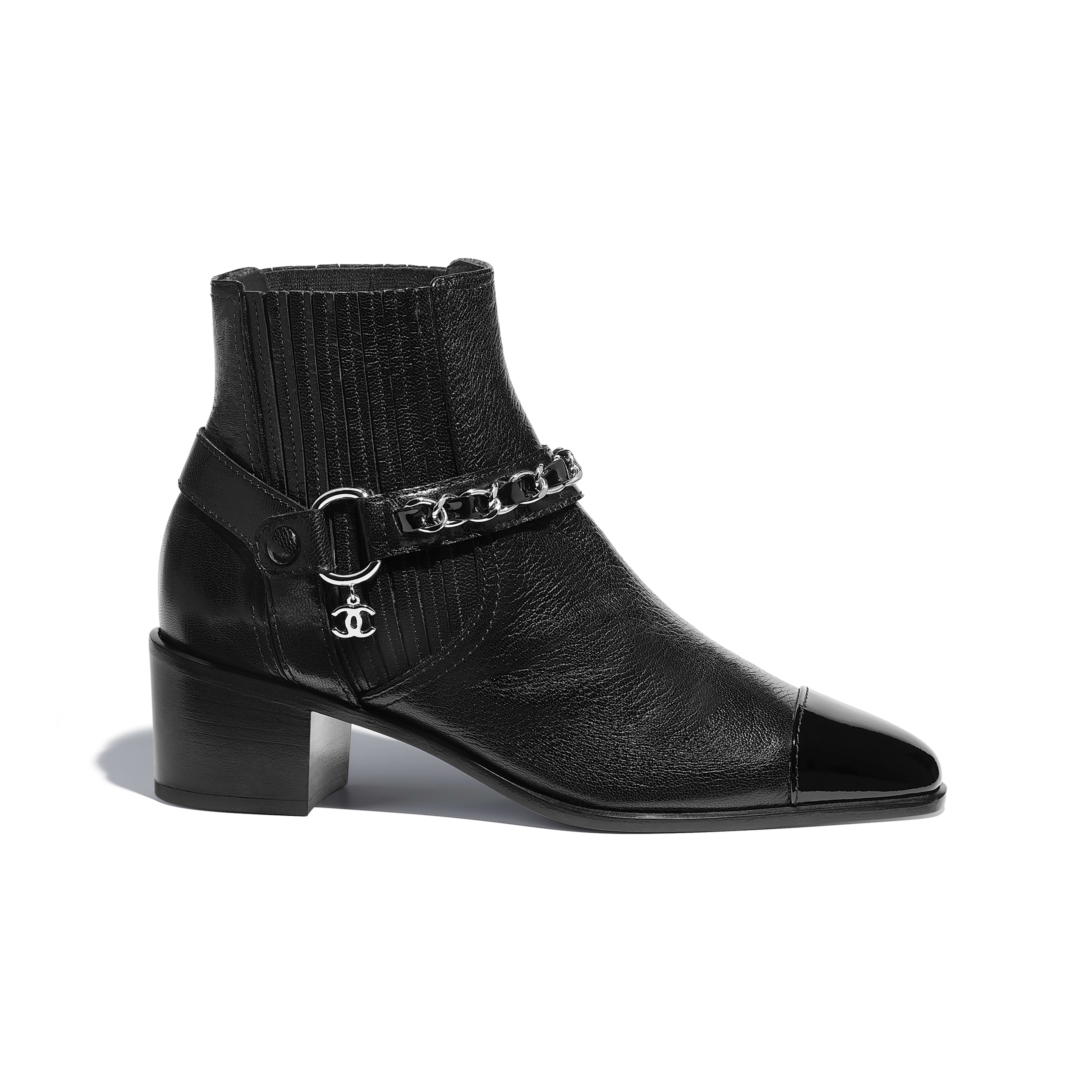 Short Boots - Black - Goatskin & Patent Calfskin - Default view - see full sized version