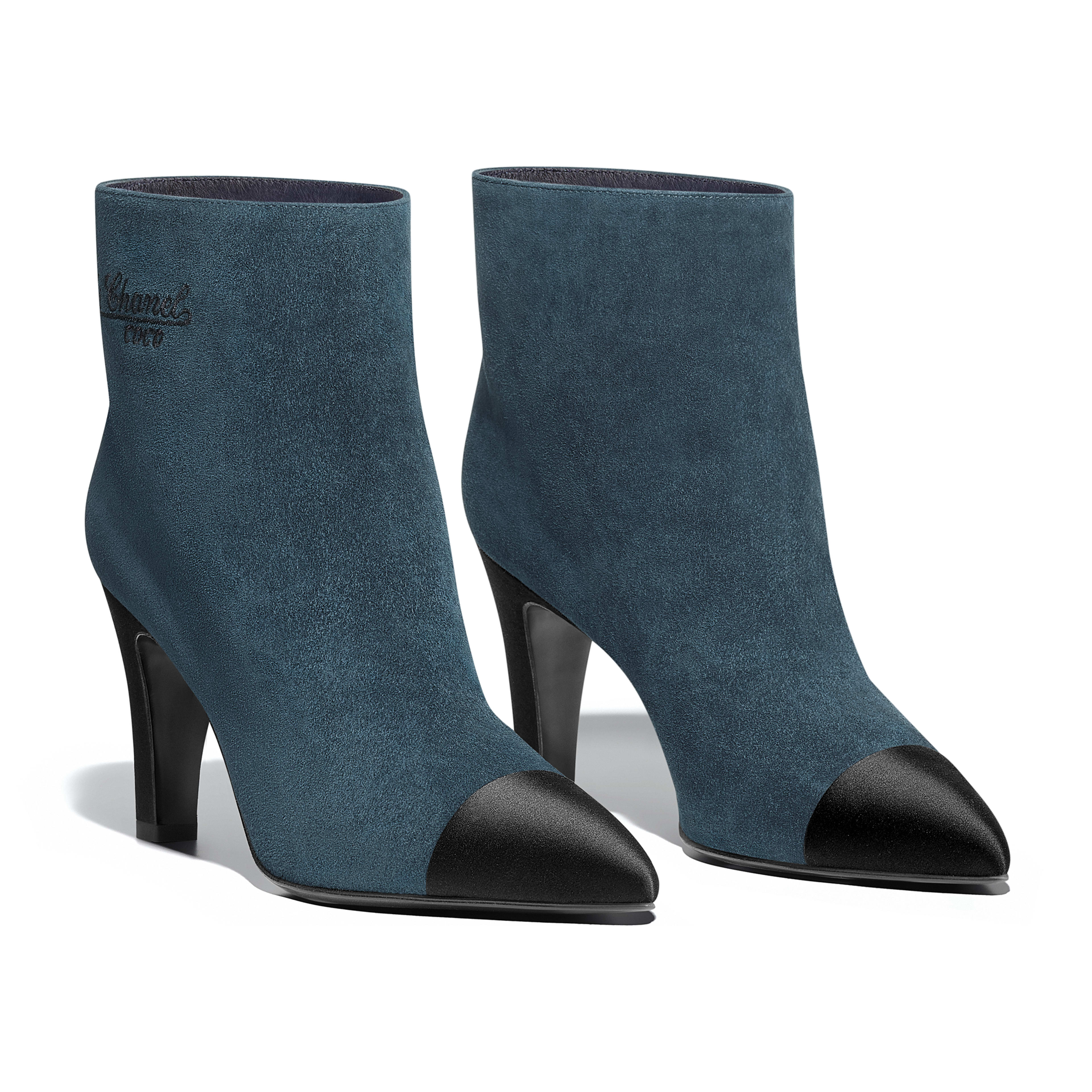Short Boots Suede Calfskin & Satin Blue & Black -                                       view 2 - see full sized version