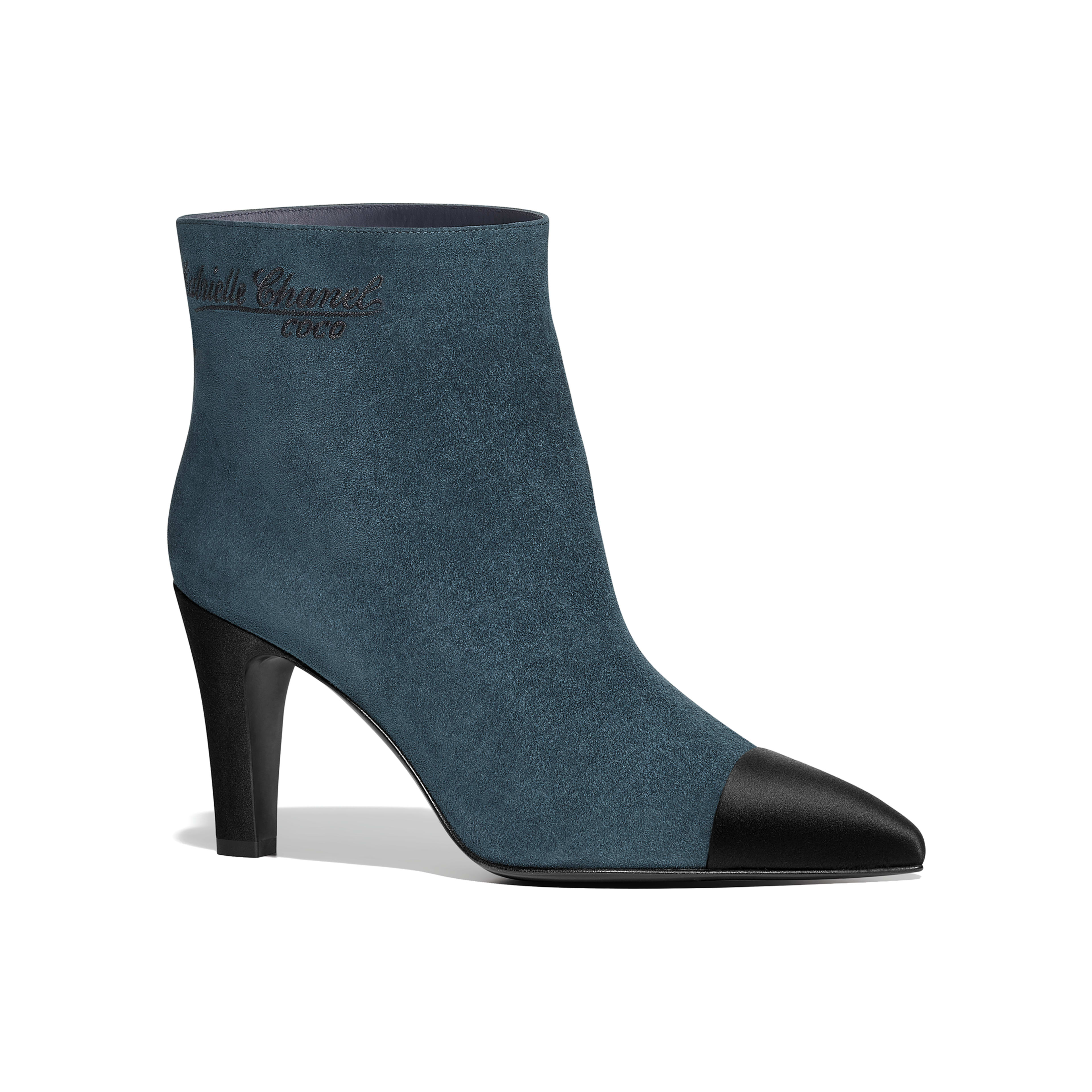 Short Boots Suede Calfskin & Satin Blue & Black -                                  view 1 - see full sized version