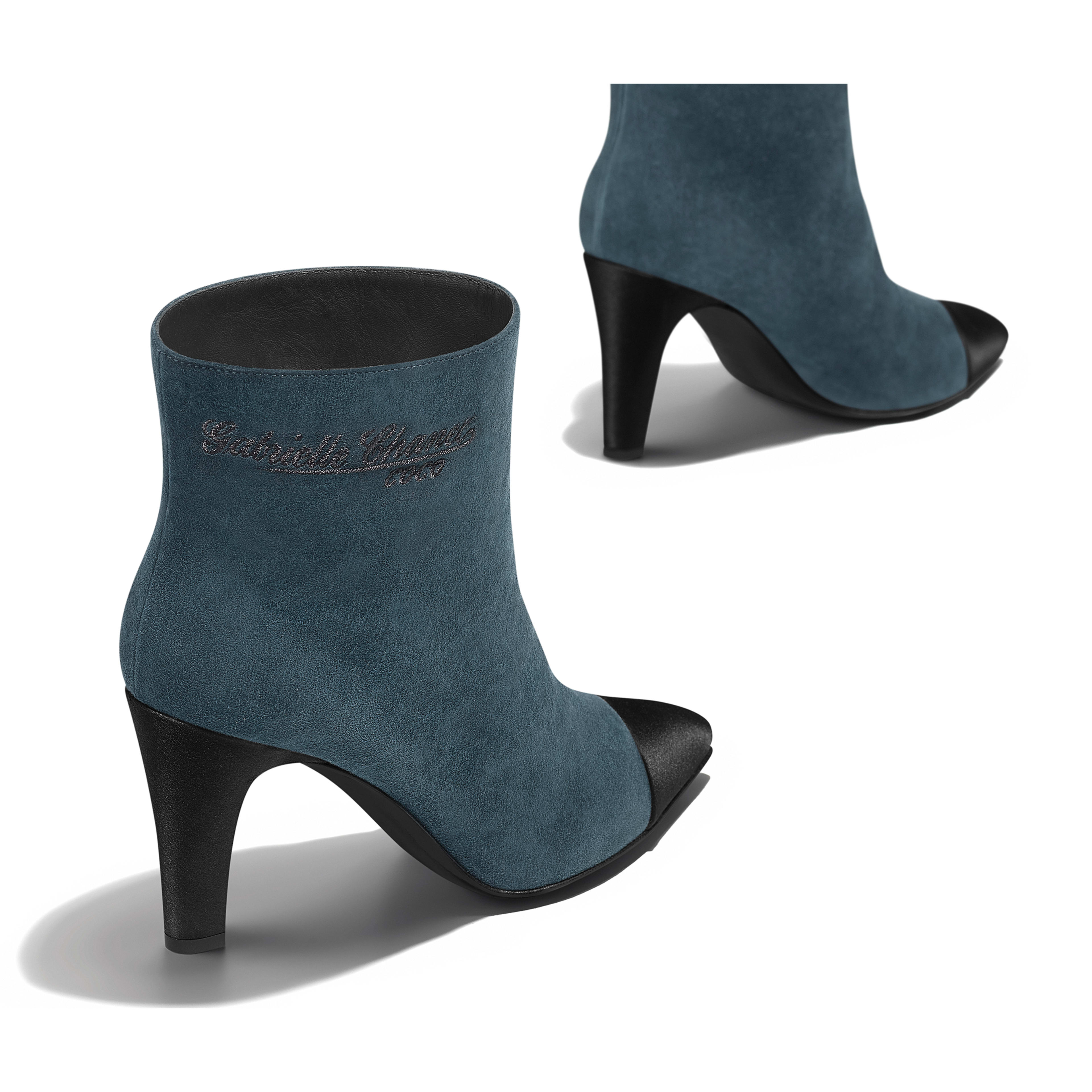 Short Boots Suede Calfskin & Satin Blue & Black -                                            view 3 - see full sized version
