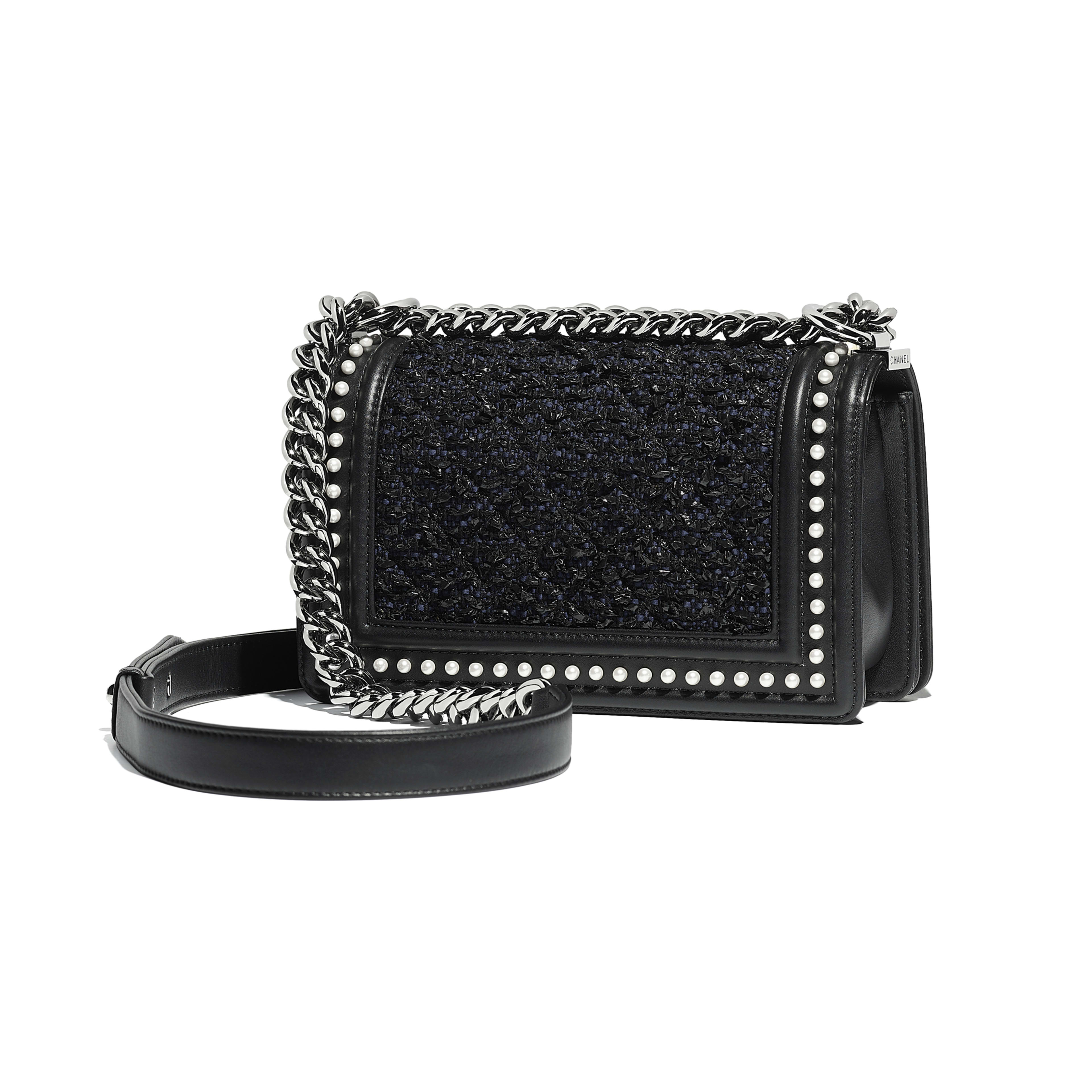 Small BOY CHANEL Handbag - Black & Navy Blue - Tweed, Calfskin, Imitation Pearls & Ruthenium-Finish Metal - Alternative view - see full sized version