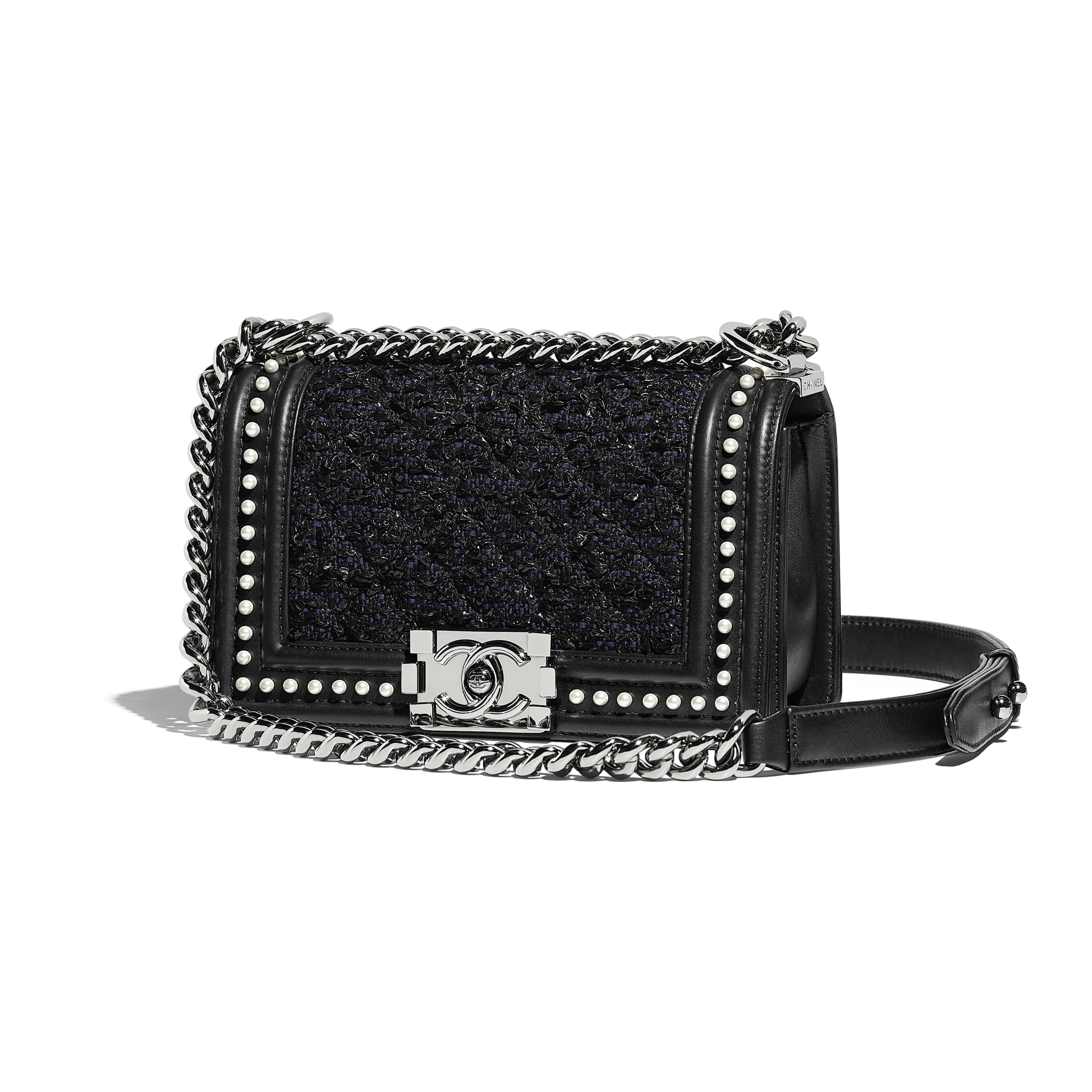 Small BOY CHANEL Handbag - Black & Navy Blue - Tweed, Calfskin, Imitation Pearls & Ruthenium-Finish Metal - Default view - see full sized version