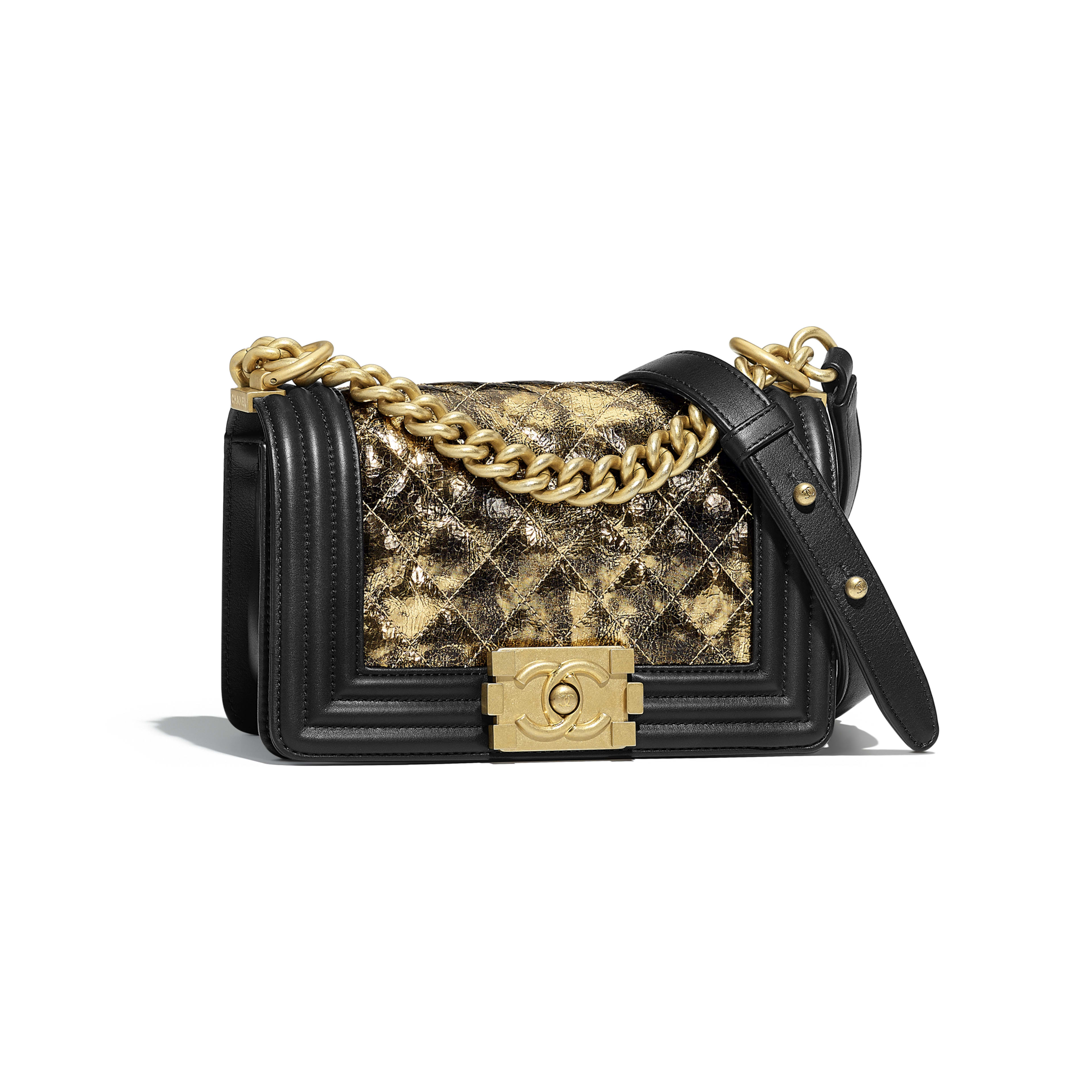 Small BOY CHANEL Handbag - Gold & Black - Metallic Crumpled Goatskin, Calfskin & Gold-Tone Metal - Default view - see full sized version