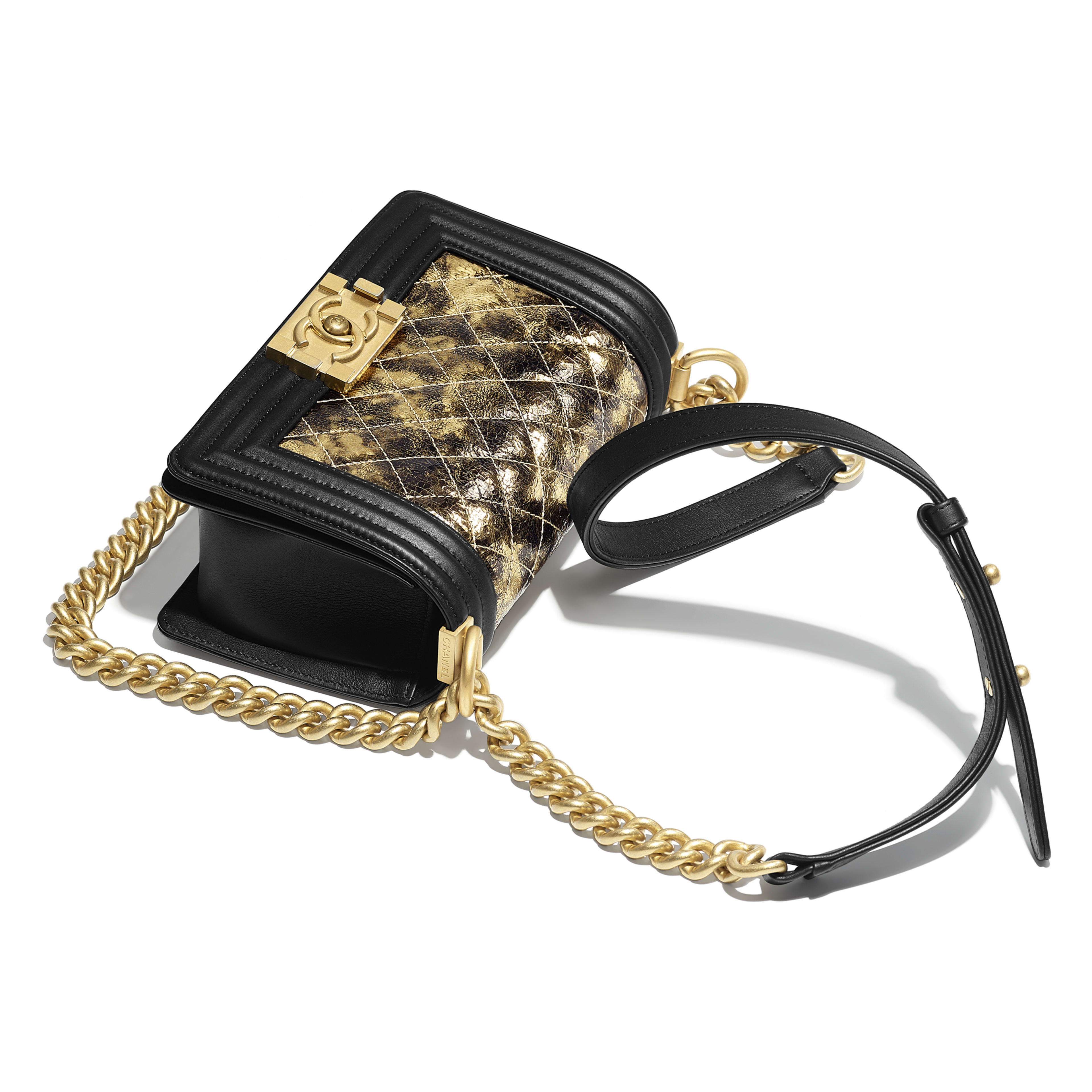 Small BOY CHANEL Handbag - Gold & Black - Metallic Crumpled Goatskin, Calfskin & Gold-Tone Metal - Other view - see full sized version