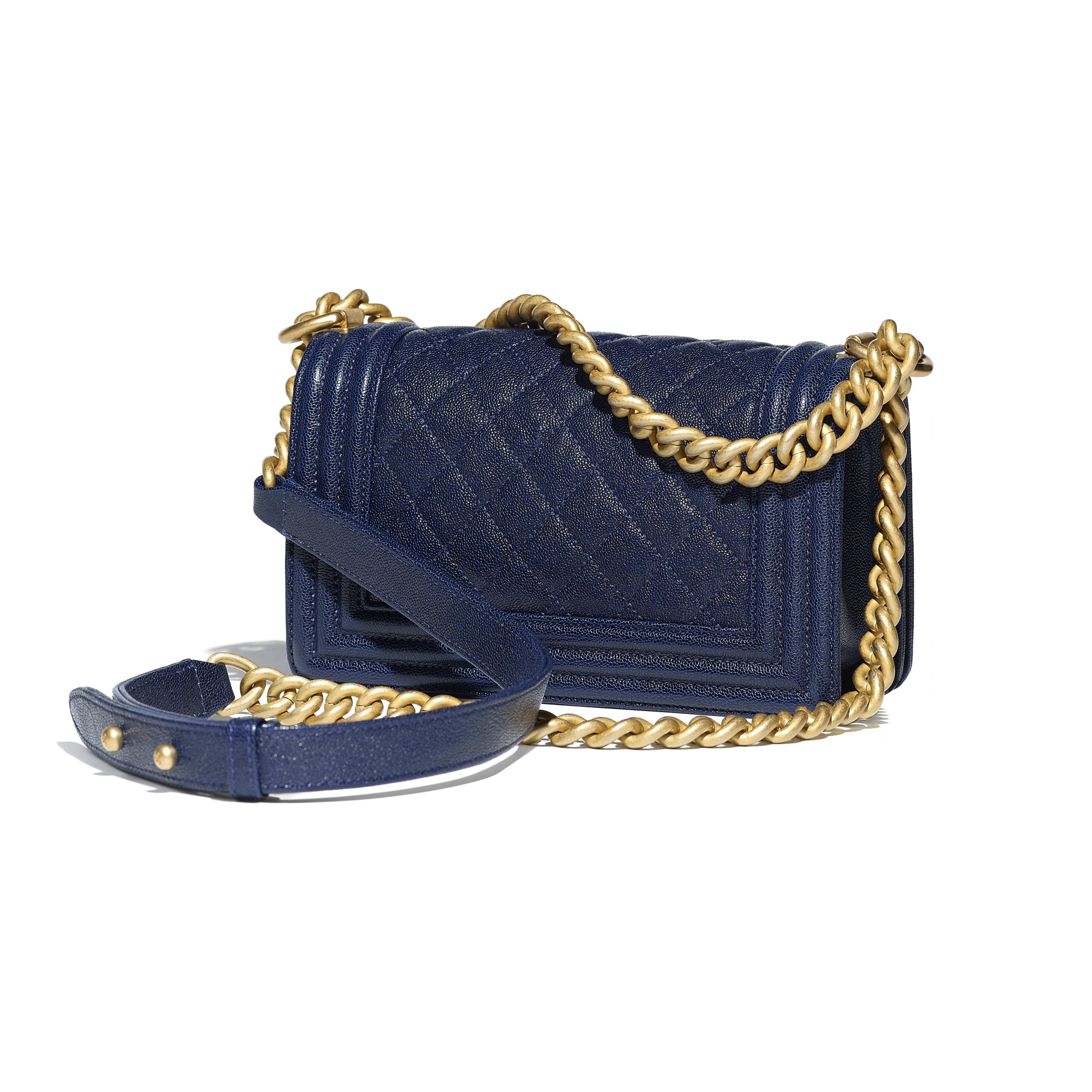 Small BOY CHANEL Handbag Grained Calfskin & Gold-Tone Metal Navy Blue -                                       view 2 - see full sized version