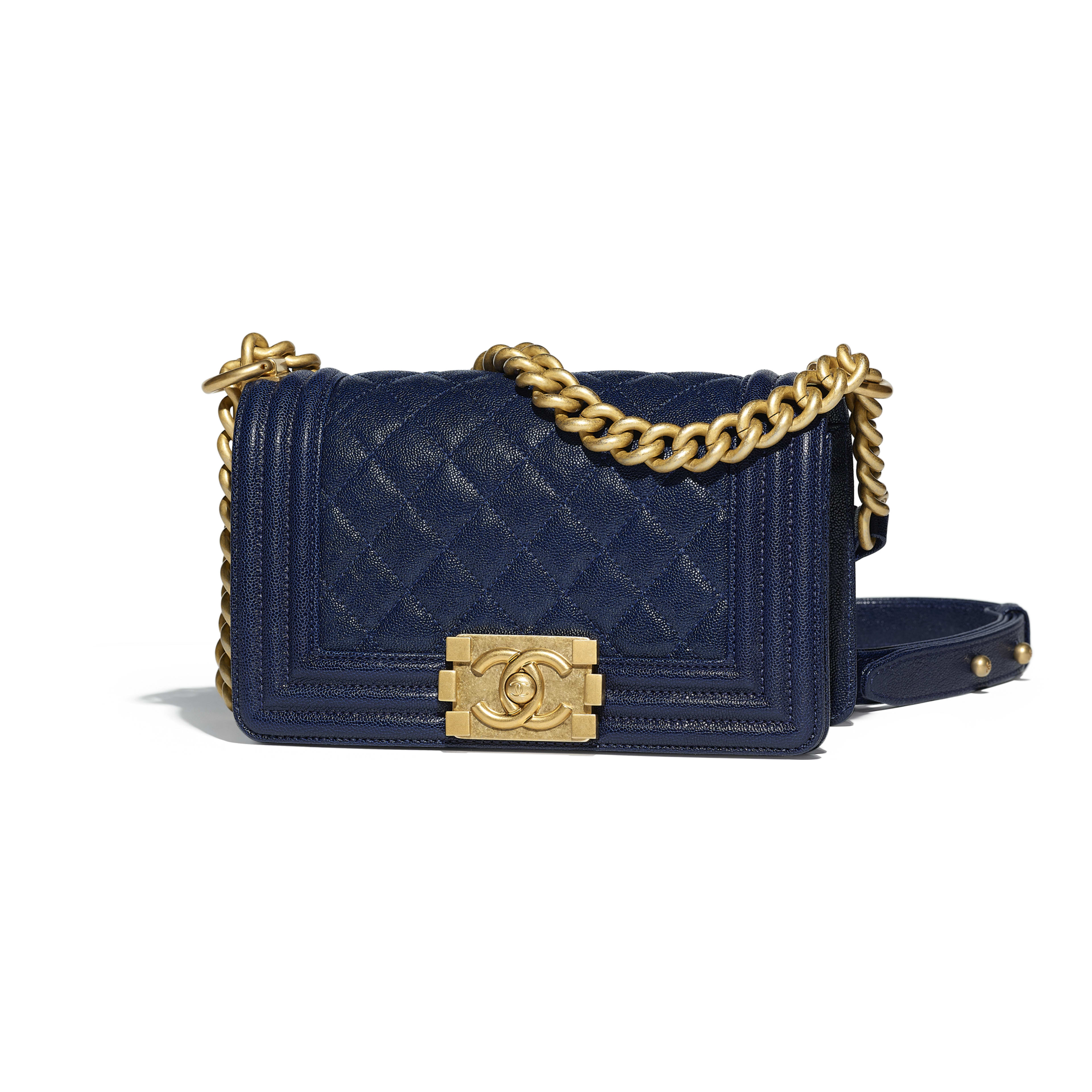 Small BOY CHANEL Handbag Grained Calfskin & Gold-Tone Metal Navy Blue -                                  view 1 - see full sized version