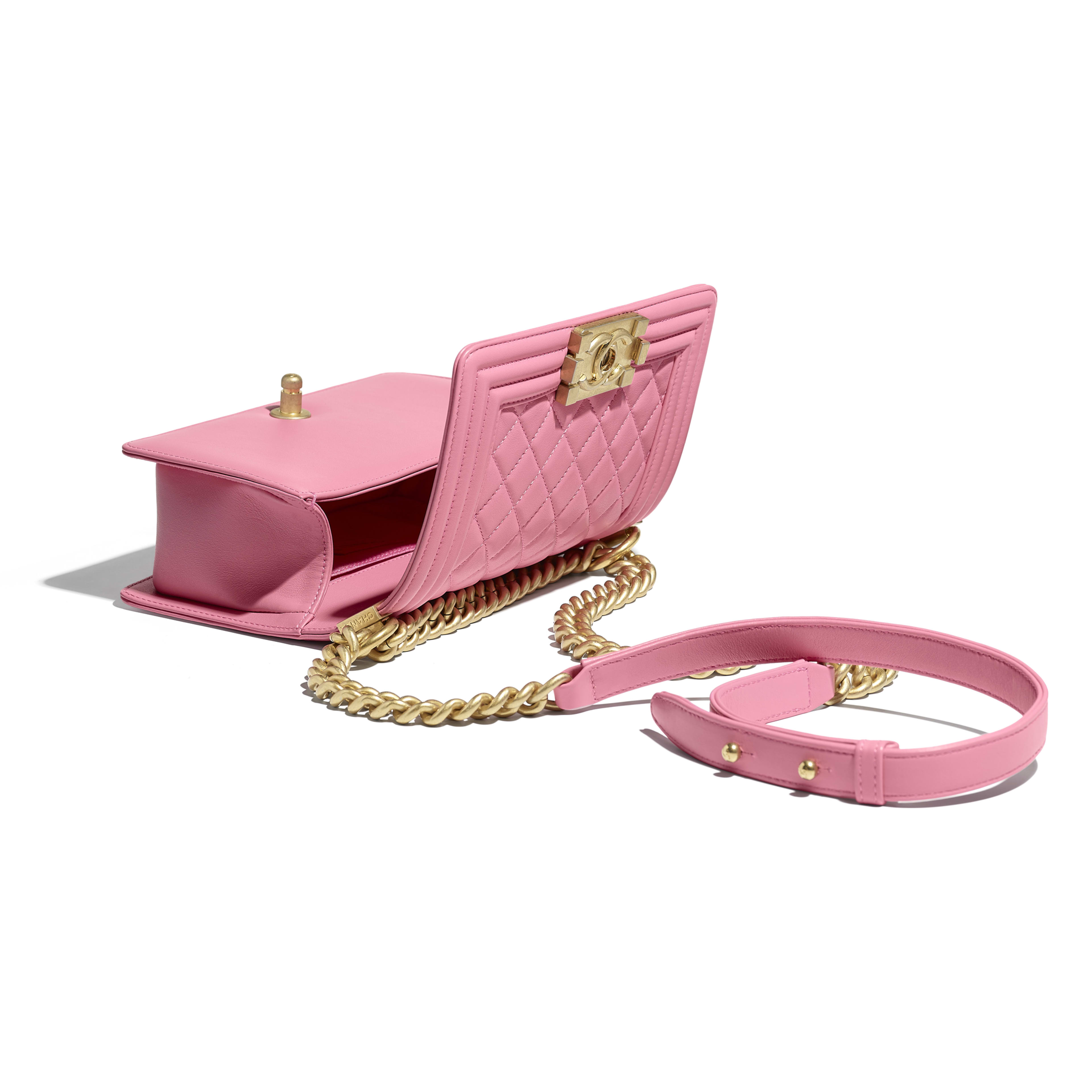 Small BOY CHANEL Handbag - Pink - Calfskin & Gold-Tone Metal - Other view - see full sized version