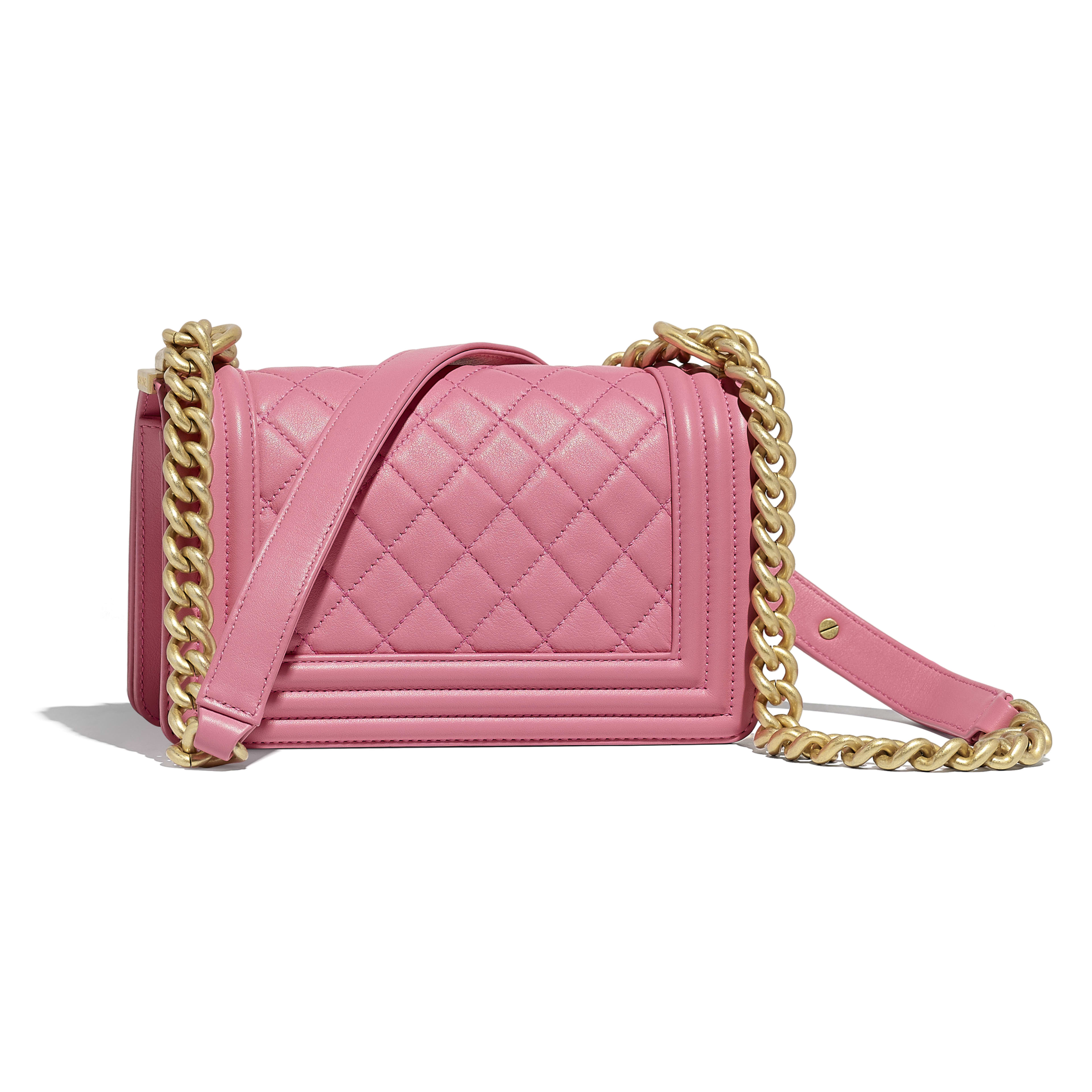 Small BOY CHANEL Handbag - Pink - Calfskin & Gold-Tone Metal - Alternative view - see full sized version