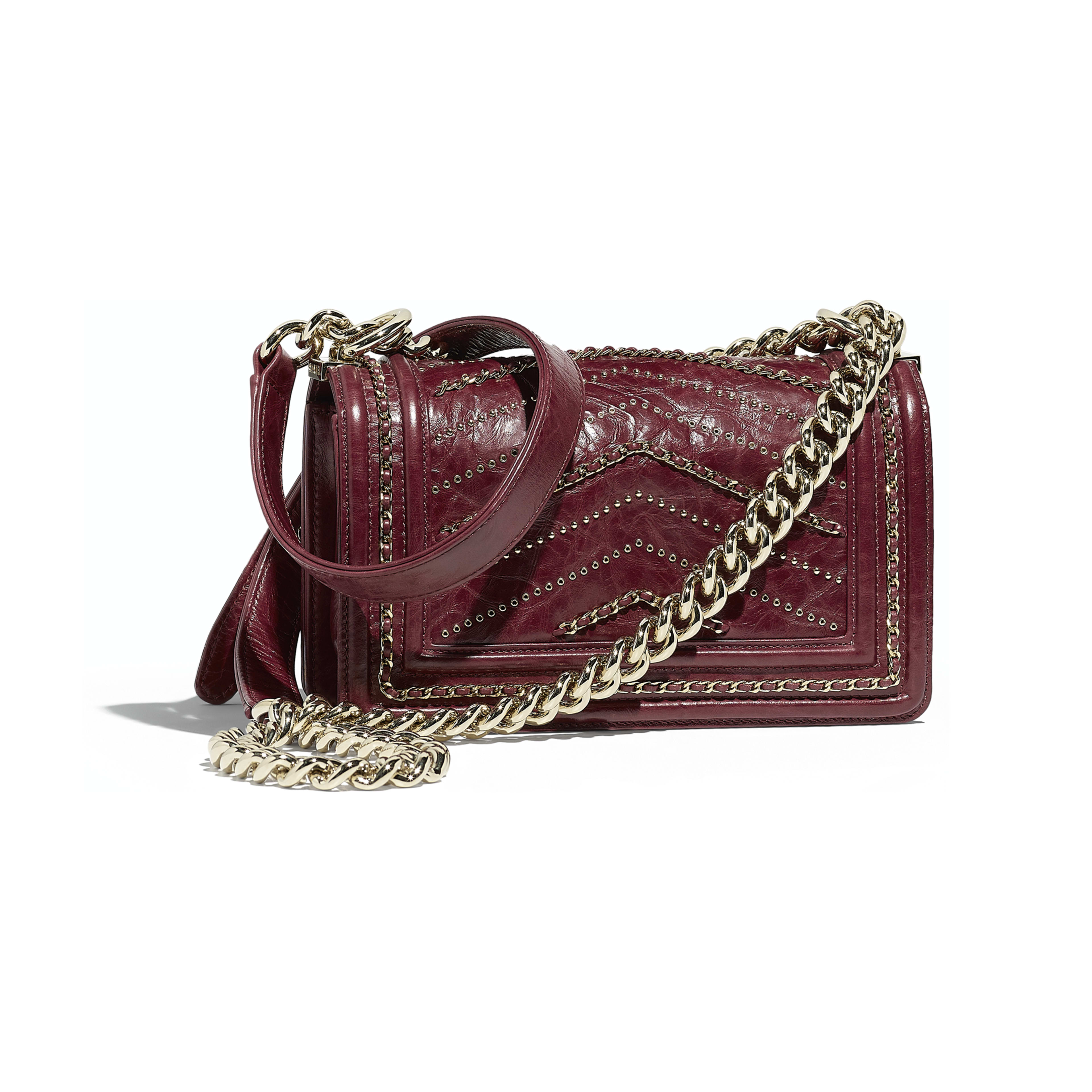 Small BOY CHANEL Handbag Crumpled Calfskin & Gold-Tone Metal Red -                                       view 2 - see full sized version
