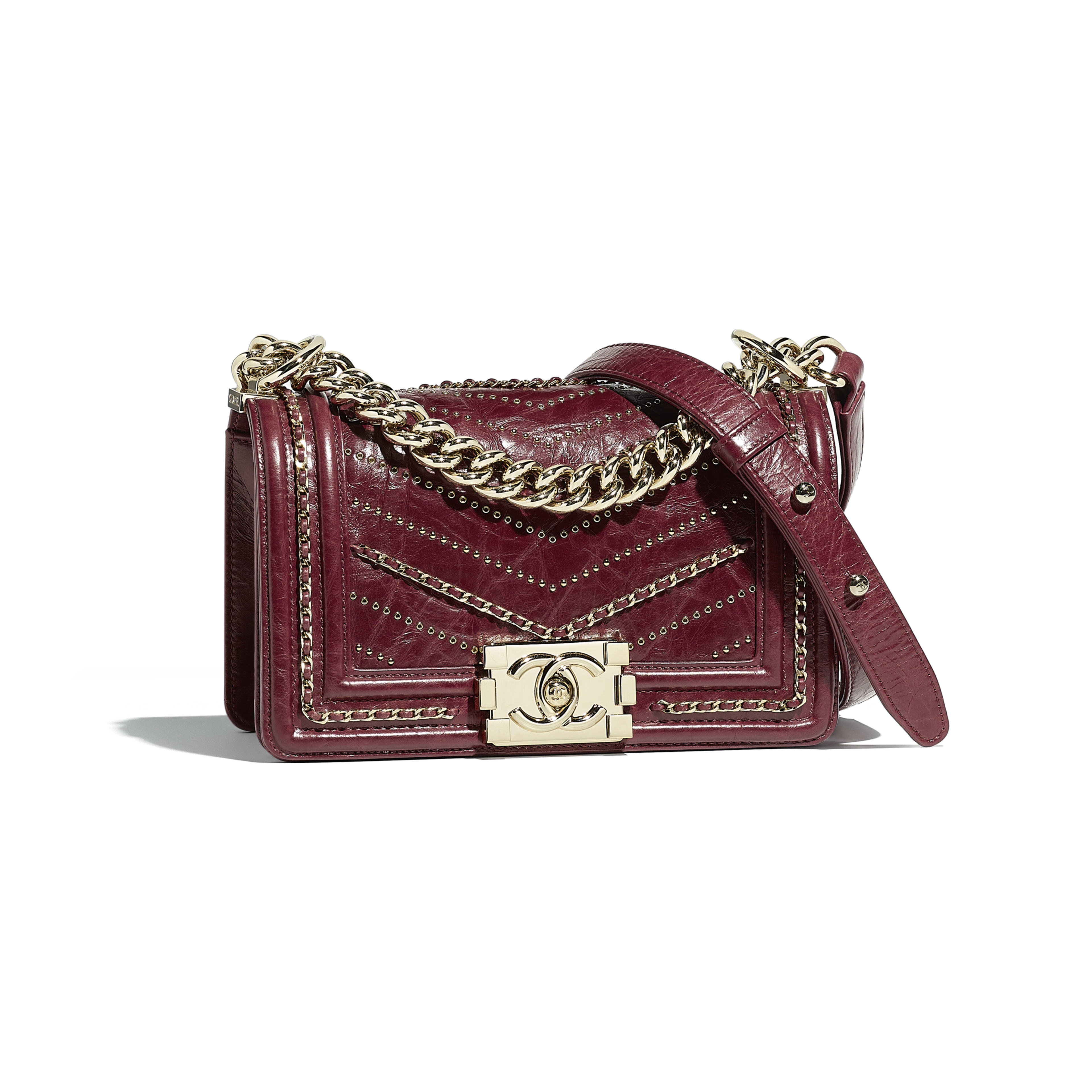 Small BOY CHANEL Handbag Crumpled Calfskin & Gold-Tone Metal Red -                                  view 1 - see full sized version