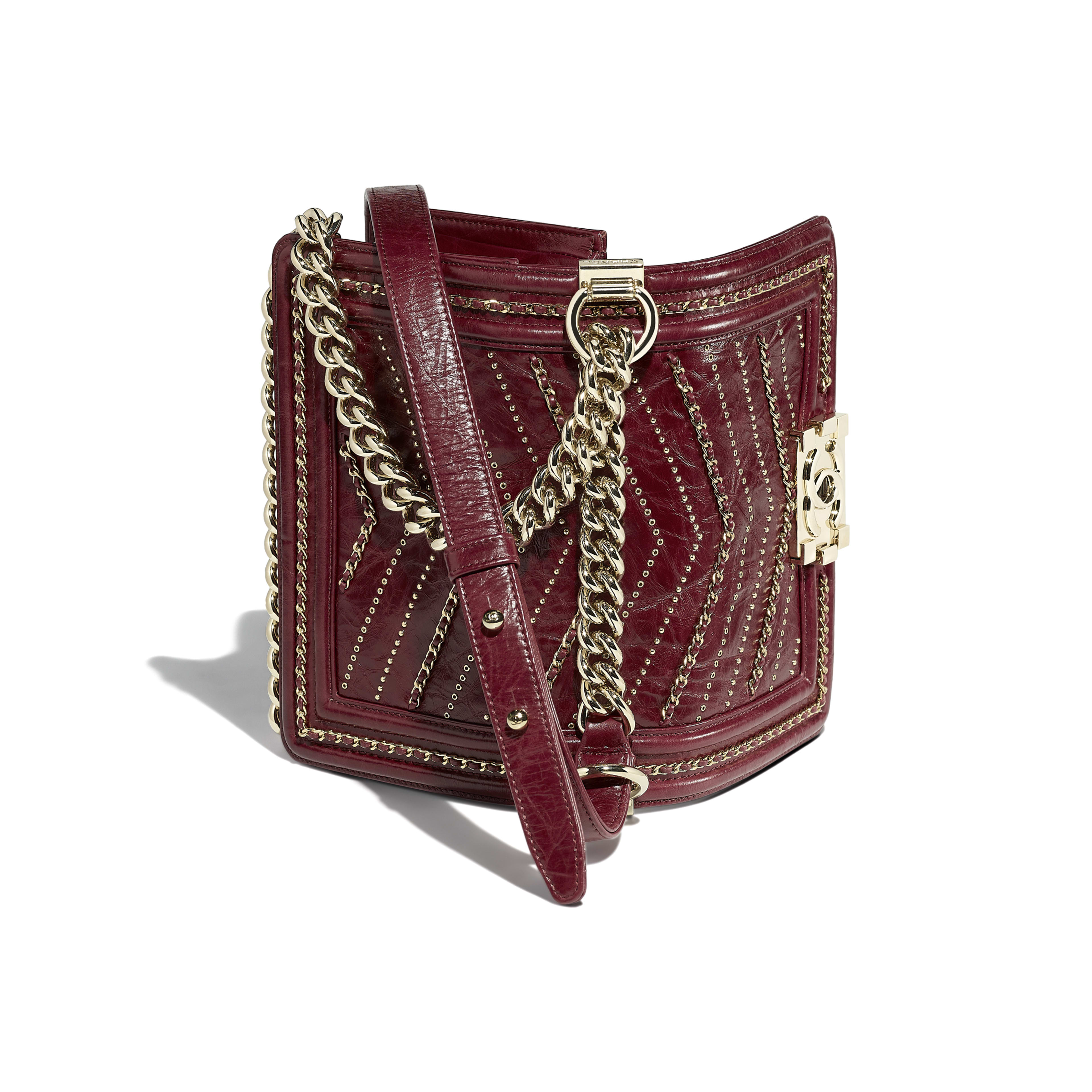 Small BOY CHANEL Handbag Crumpled Calfskin & Gold-Tone Metal Red -                                            view 3 - see full sized version