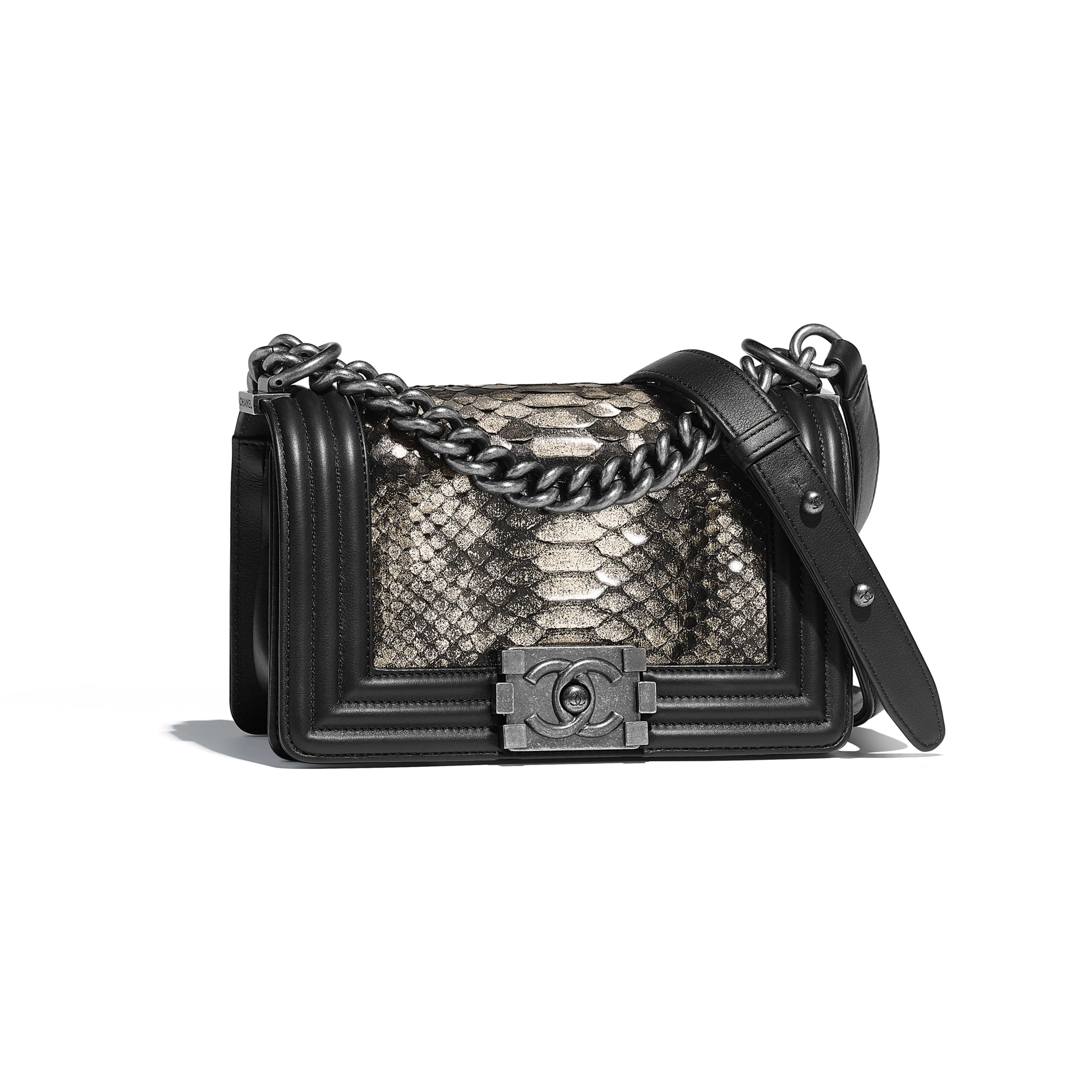 Small BOY CHANEL Handbag - Silver & Black - python, calfskin & ruthenium-finish metal - Default view - see full sized version