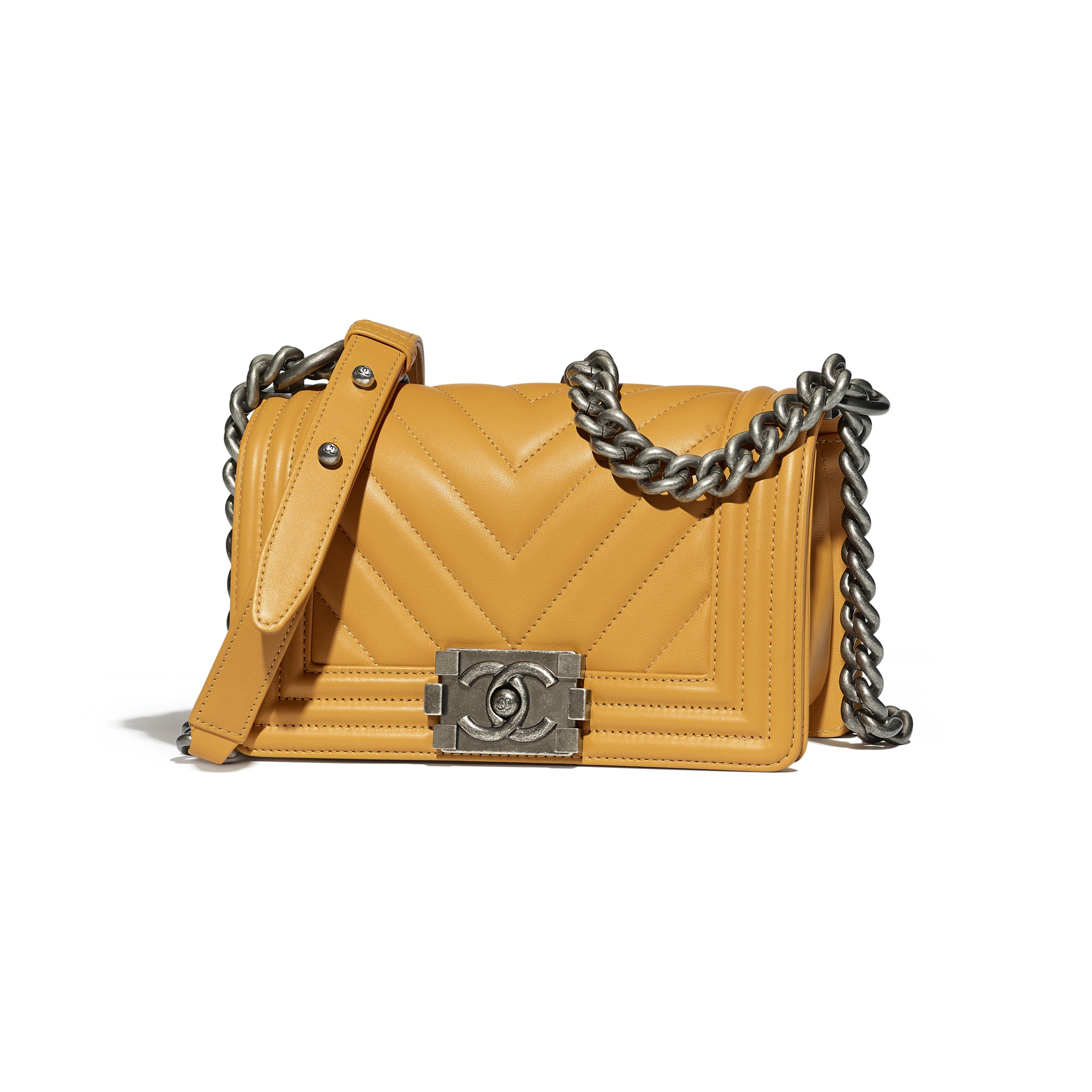 Small BOY CHANEL Handbag Calfskin & Ruthenium-Finish Metal Yellow -                                  view 1 - see full sized version