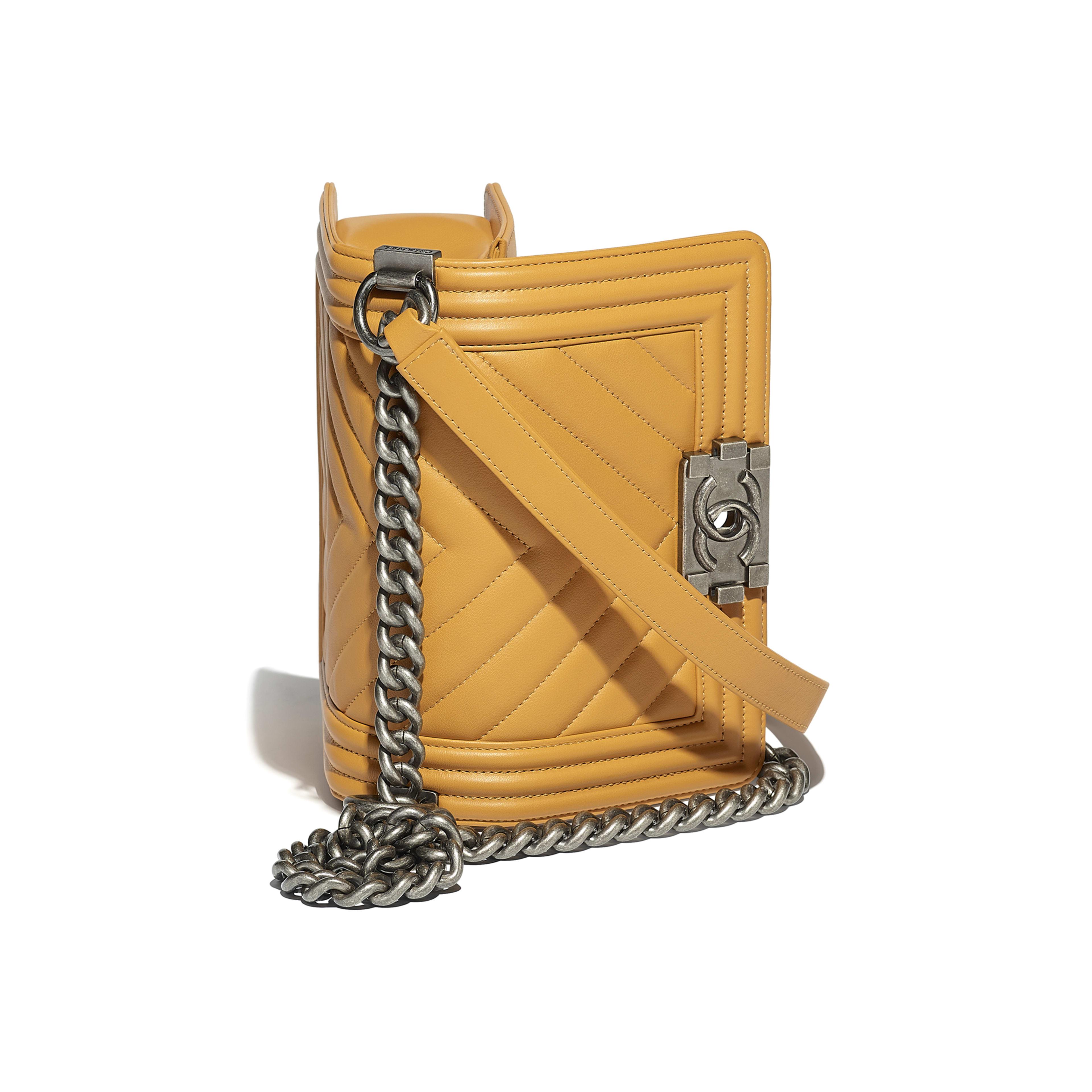 Small BOY CHANEL Handbag Calfskin & Ruthenium-Finish Metal Yellow -                                            view 3 - see full sized version