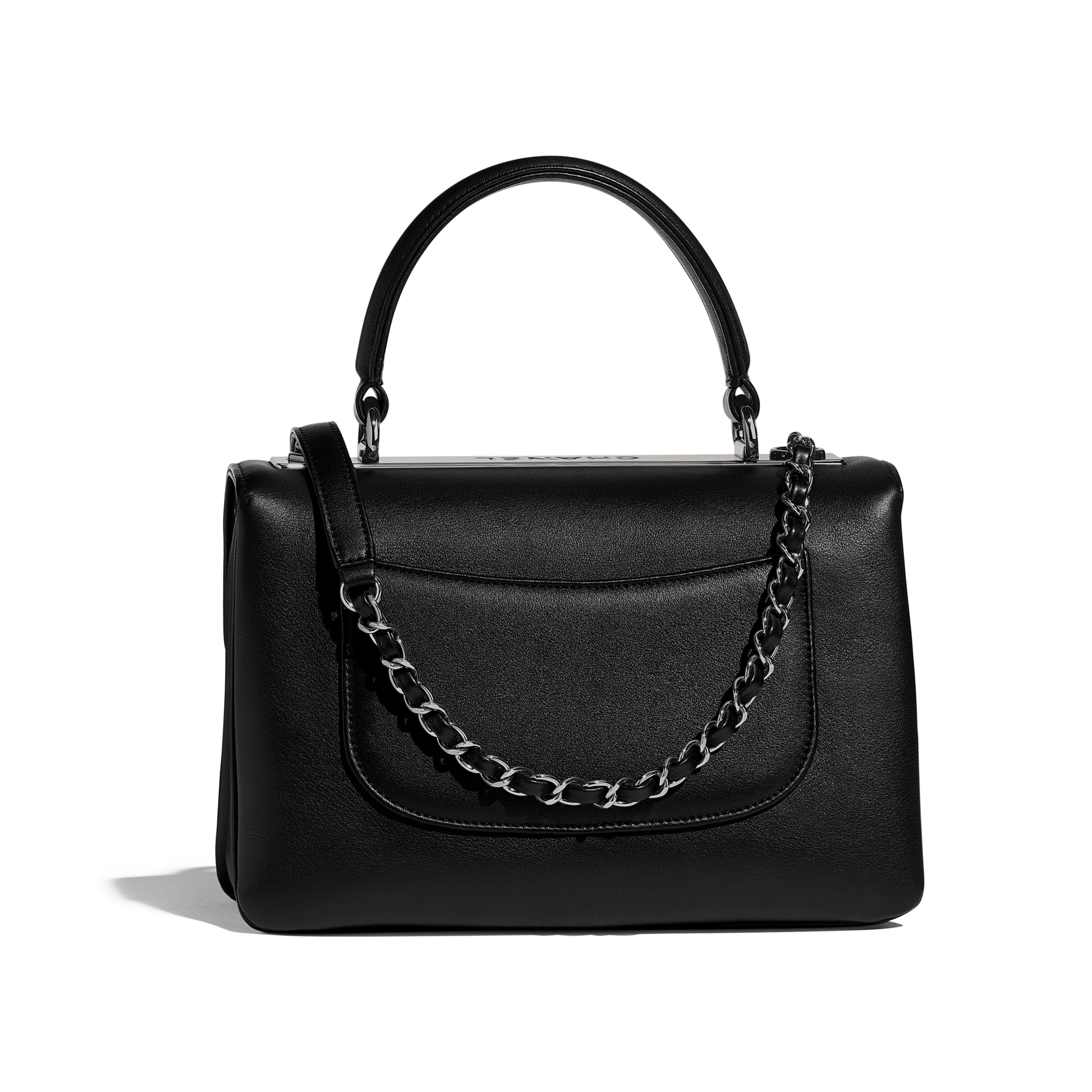 Small Flap Bag with Top Handle - Black - Calfskin   Ruthenium-Finish Metal  ... c2bc217cdd