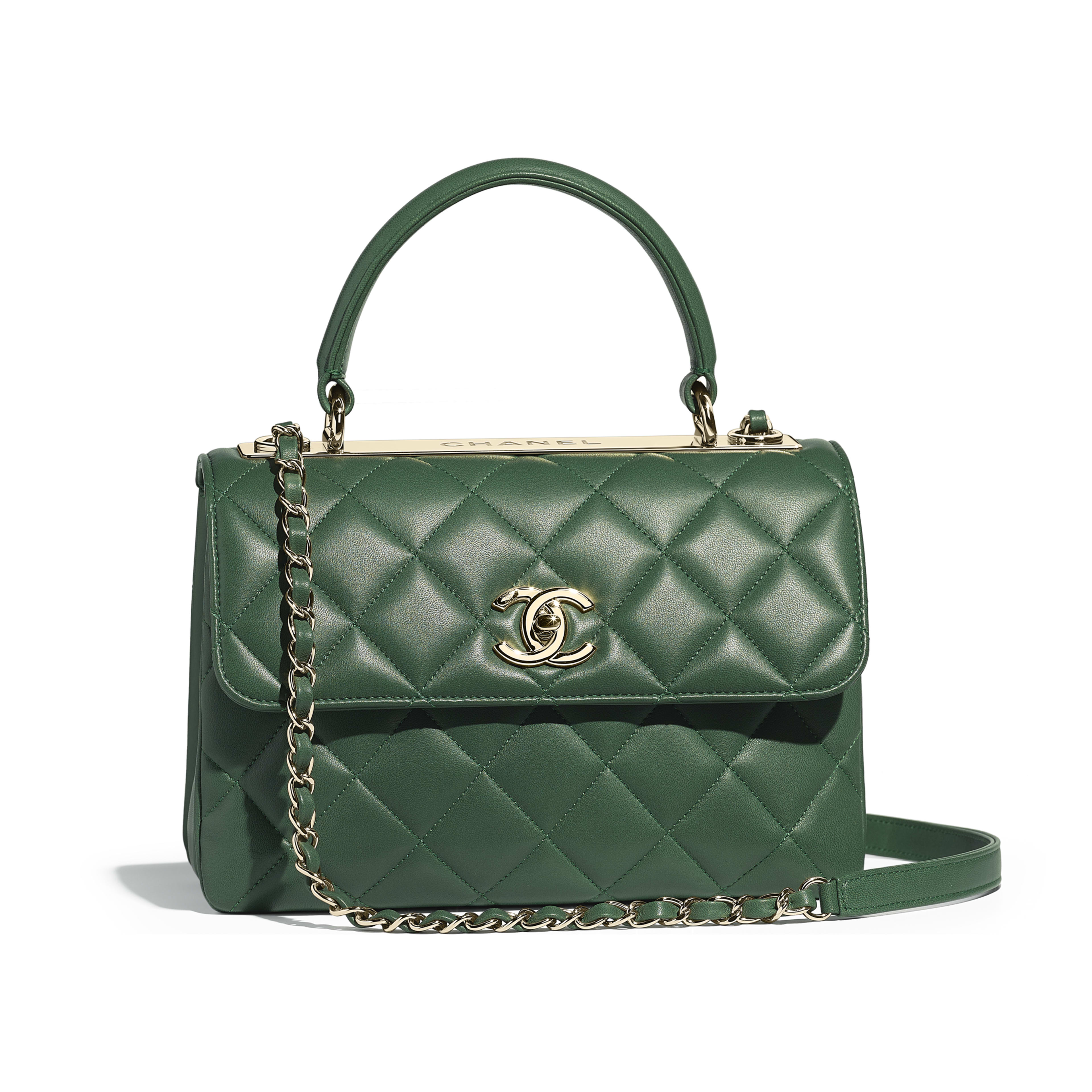 Small Flap Bag With Top Handle Green Lambskin Gold Tone Metal