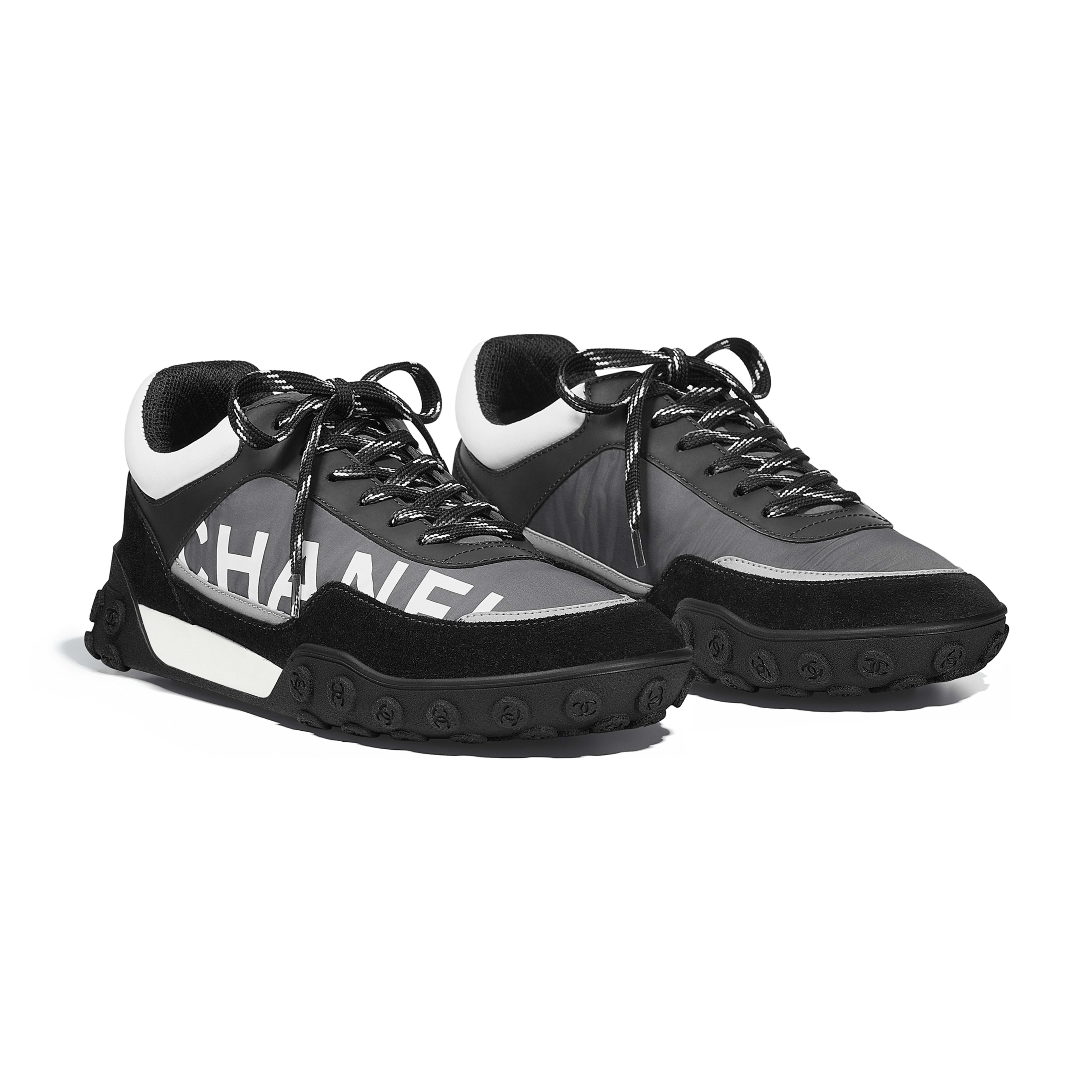 Sneakers - Gray, Black & White - Nylon & Calfskin - Alternative view - see full sized version