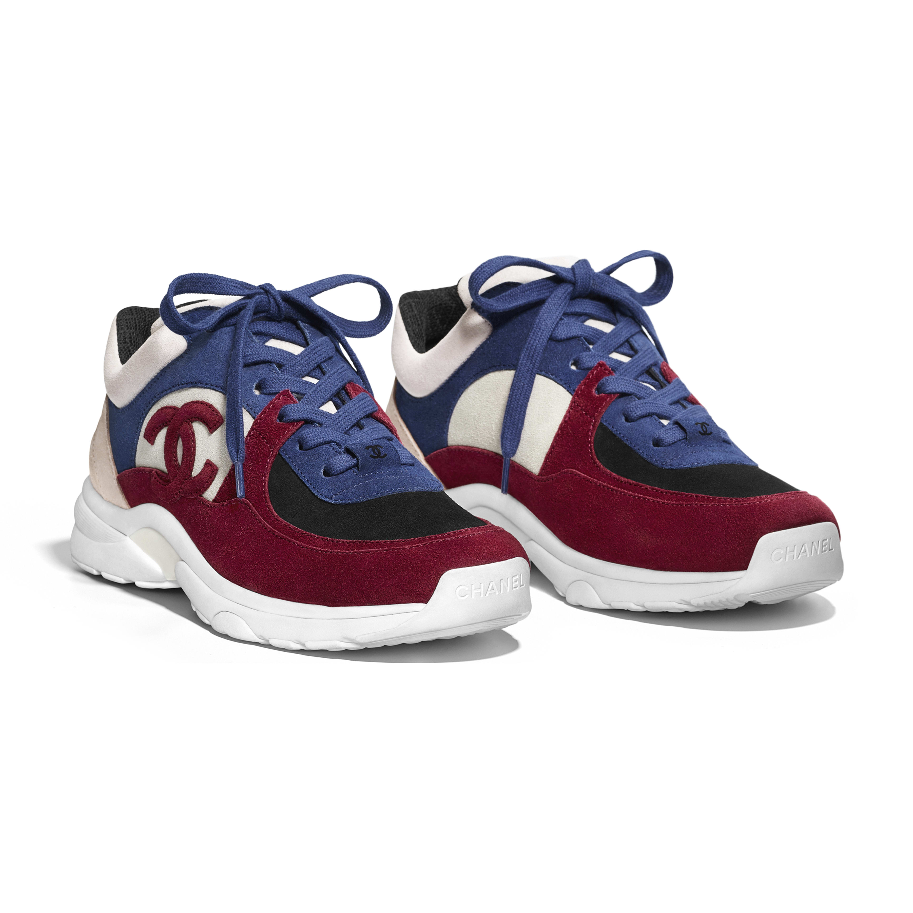 Sneakers - Navy Blue & Red - Suede Calfskin - Alternative view - see full sized version