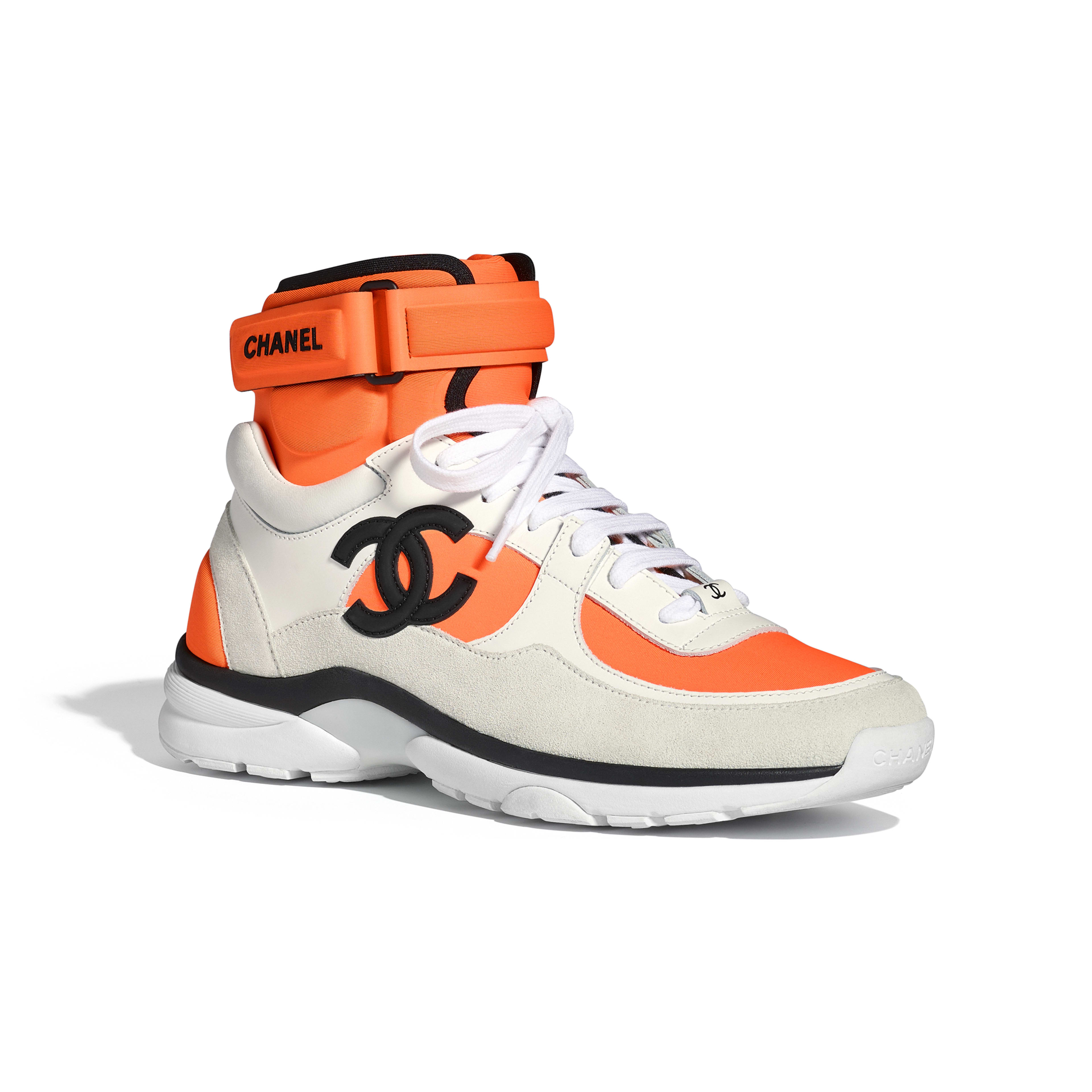 Sneakers Fabric, Lambskin & Suede Calfskin White & Orange -                                       view 2 - see full sized version