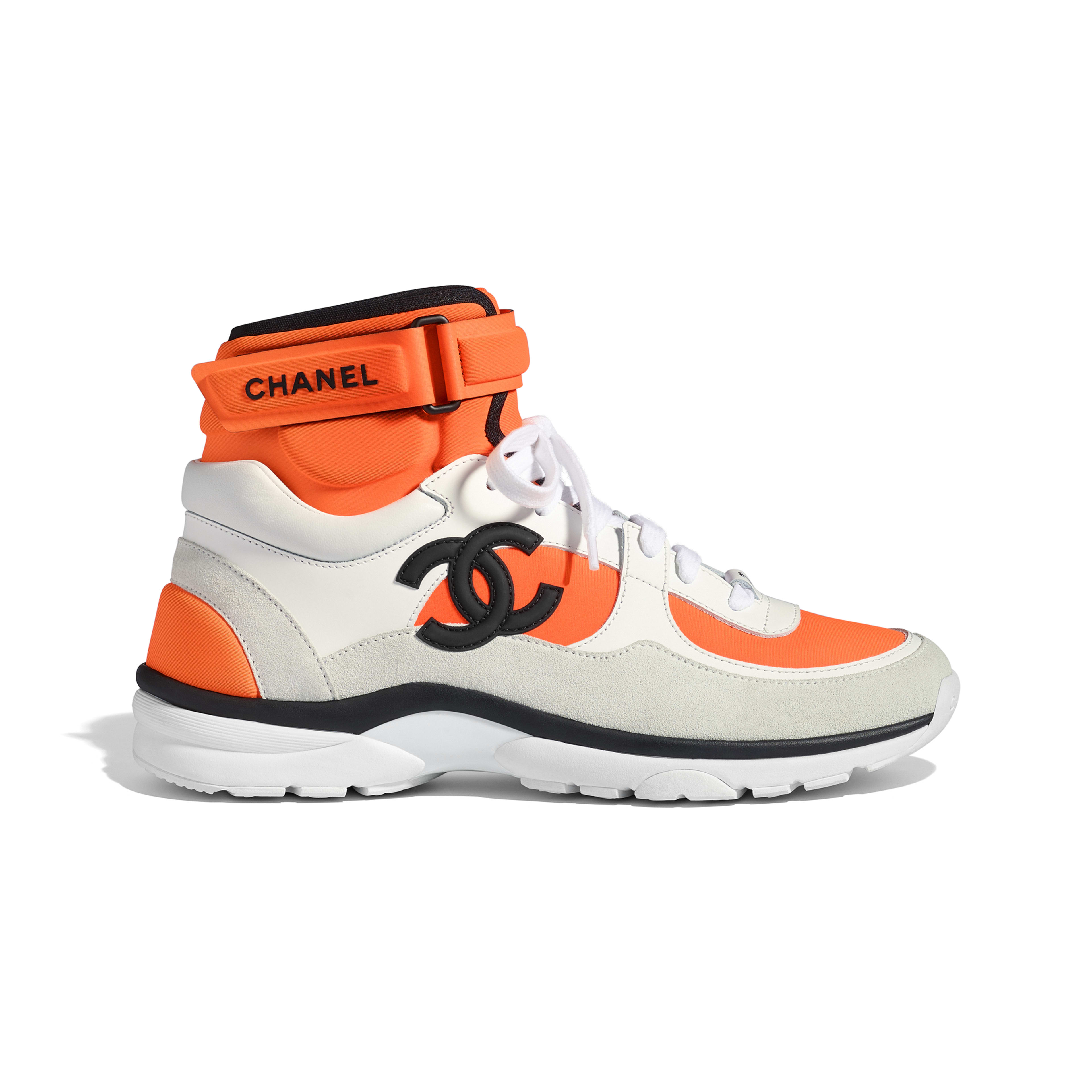 Sneakers Fabric, Lambskin & Suede Calfskin White & Orange -                                  view 1 - see full sized version