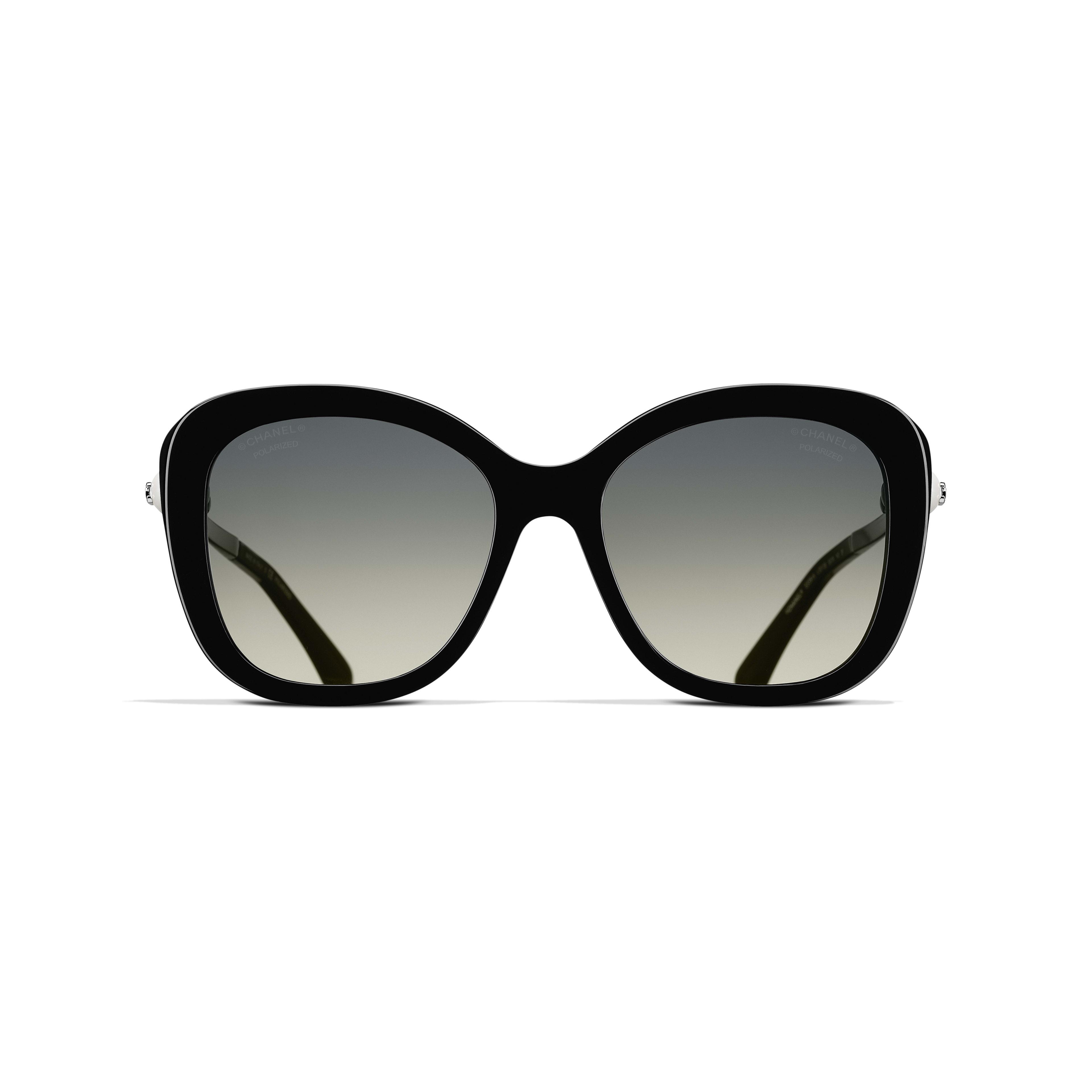Square Sunglasses Acetate & Imitation Pearls - Polarized Lenses Black -                                                    view 2 - see full sized version