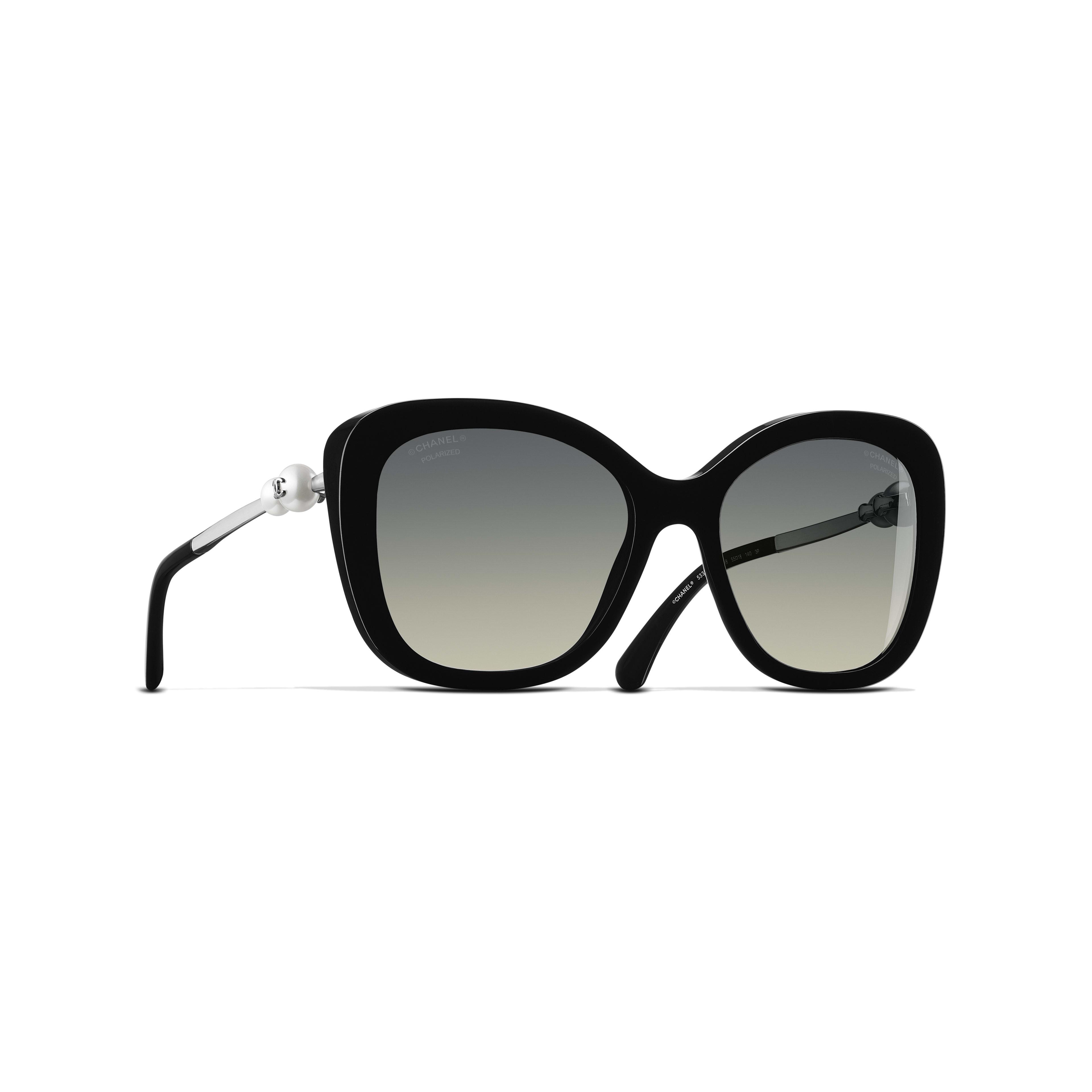 Square Sunglasses Acetate & Imitation Pearls - Polarized Lenses Black -                                               view 1 - see full sized version