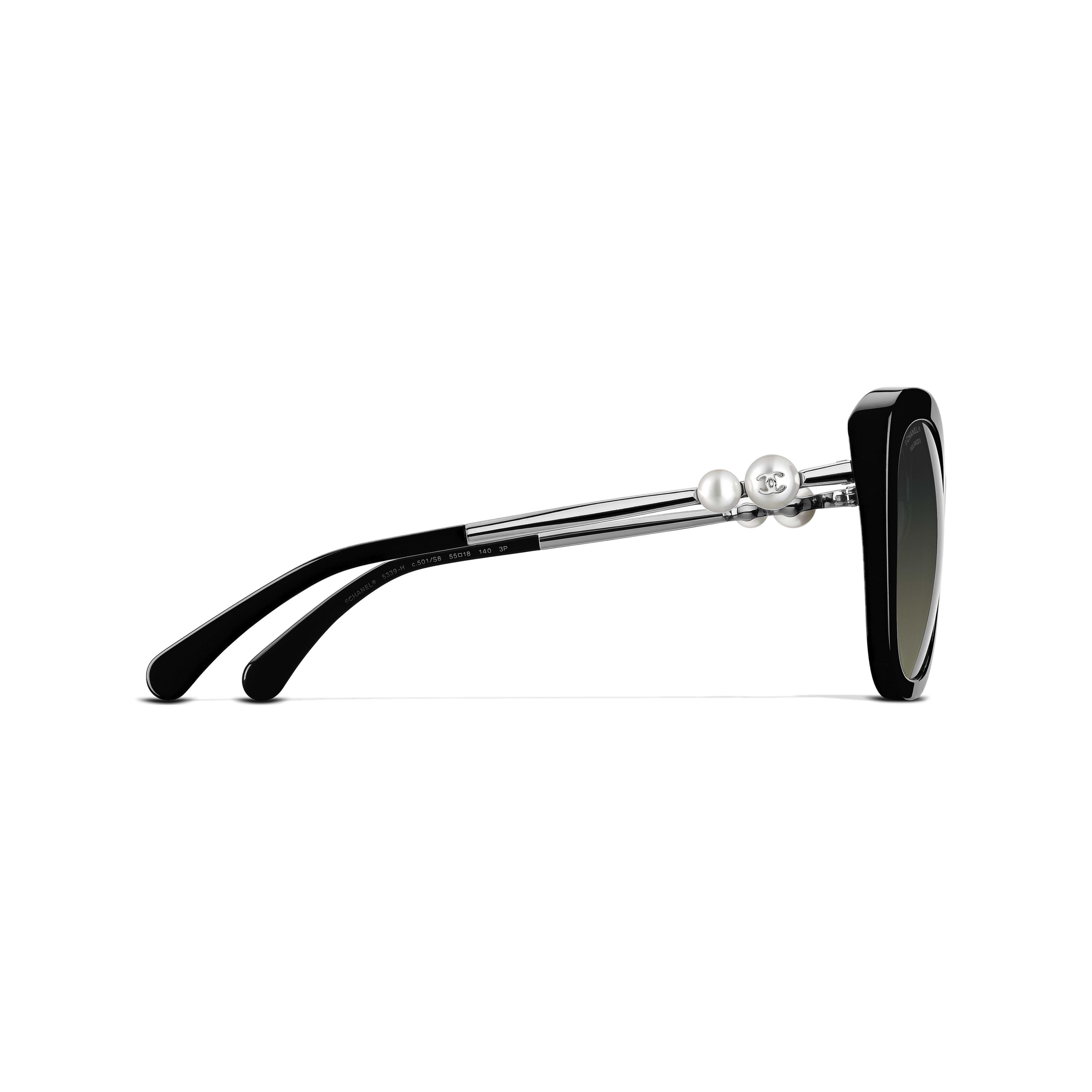 Square Sunglasses Acetate & Imitation Pearls - Polarized Lenses Black -                                                         view 3 - see full sized version