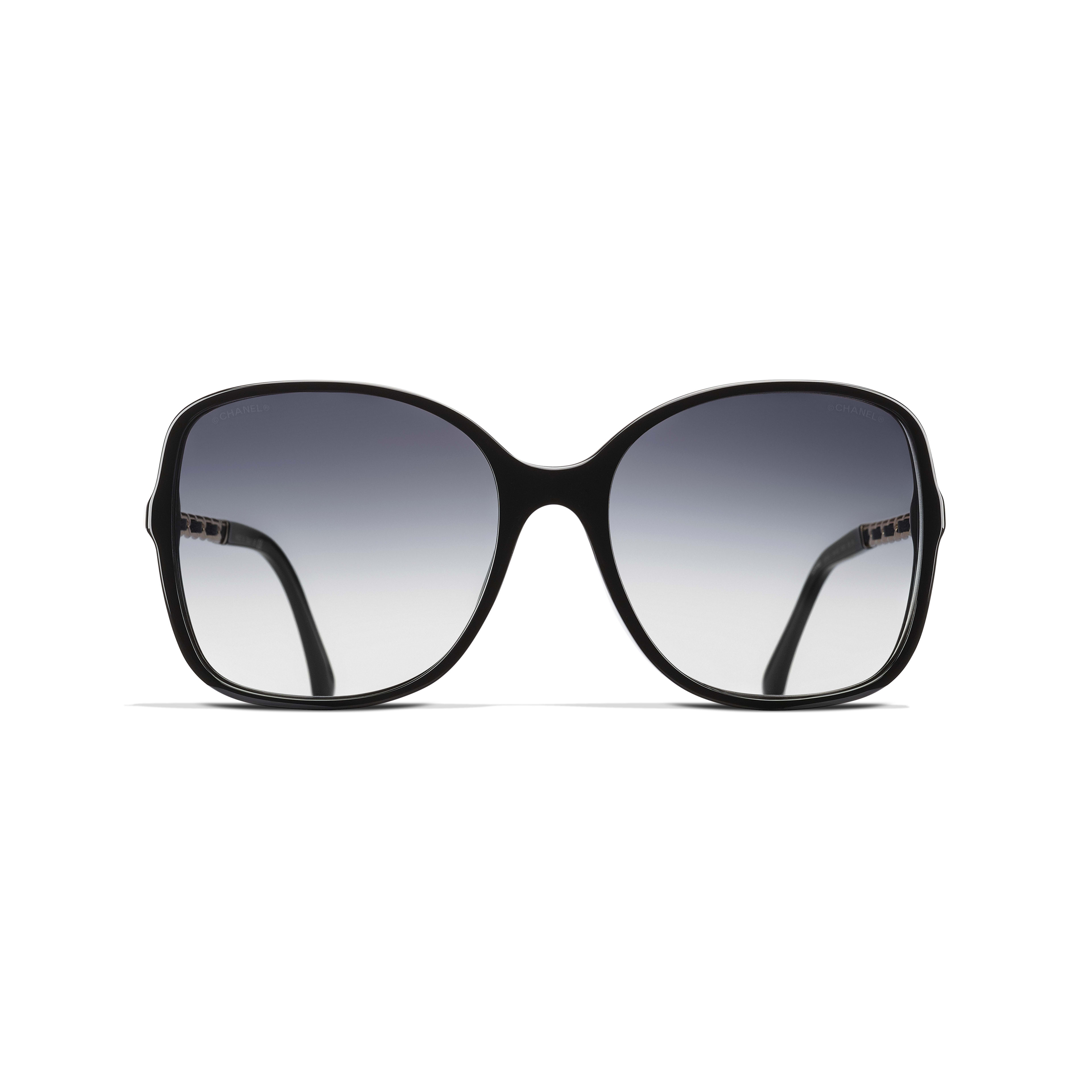 Square Sunglasses Acetate & Lambskin Black -                                                    view 2 - see full sized version