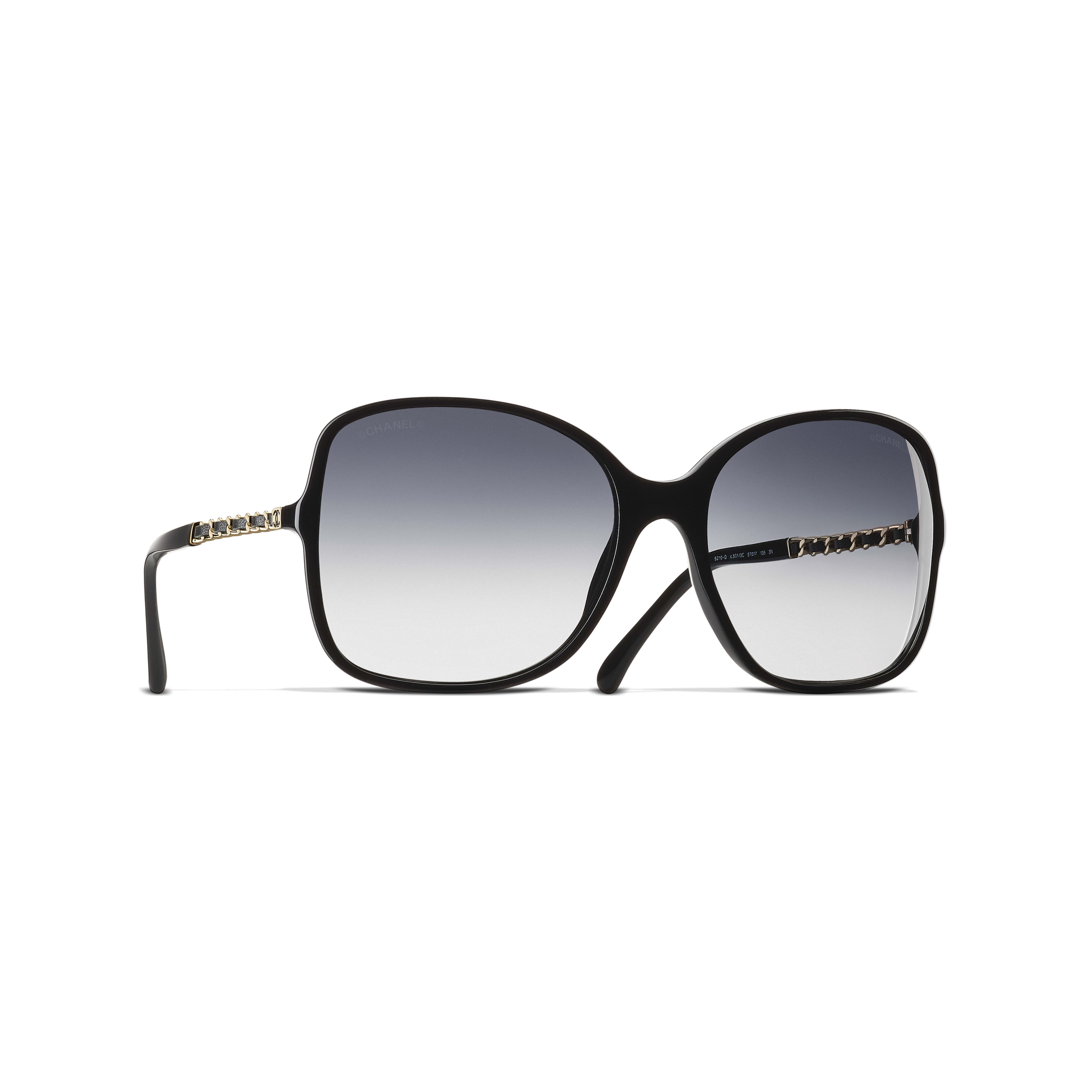 Square Sunglasses Acetate & Lambskin Black -                                               view 1 - see full sized version