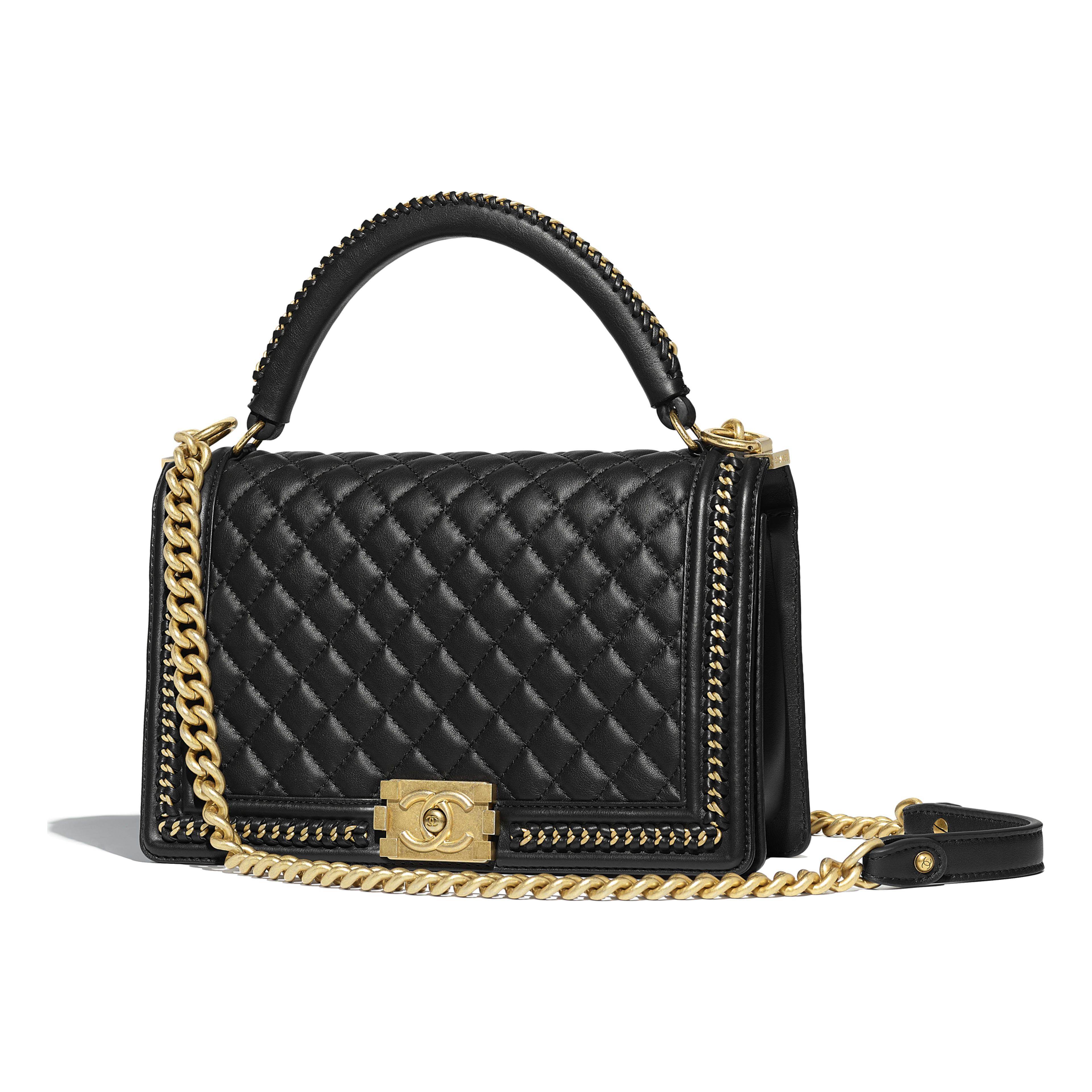 b1ca2ce0648c Calfskin & Gold-Tone Metal Black BOY CHANEL Flap Bag with Handle | CHANEL