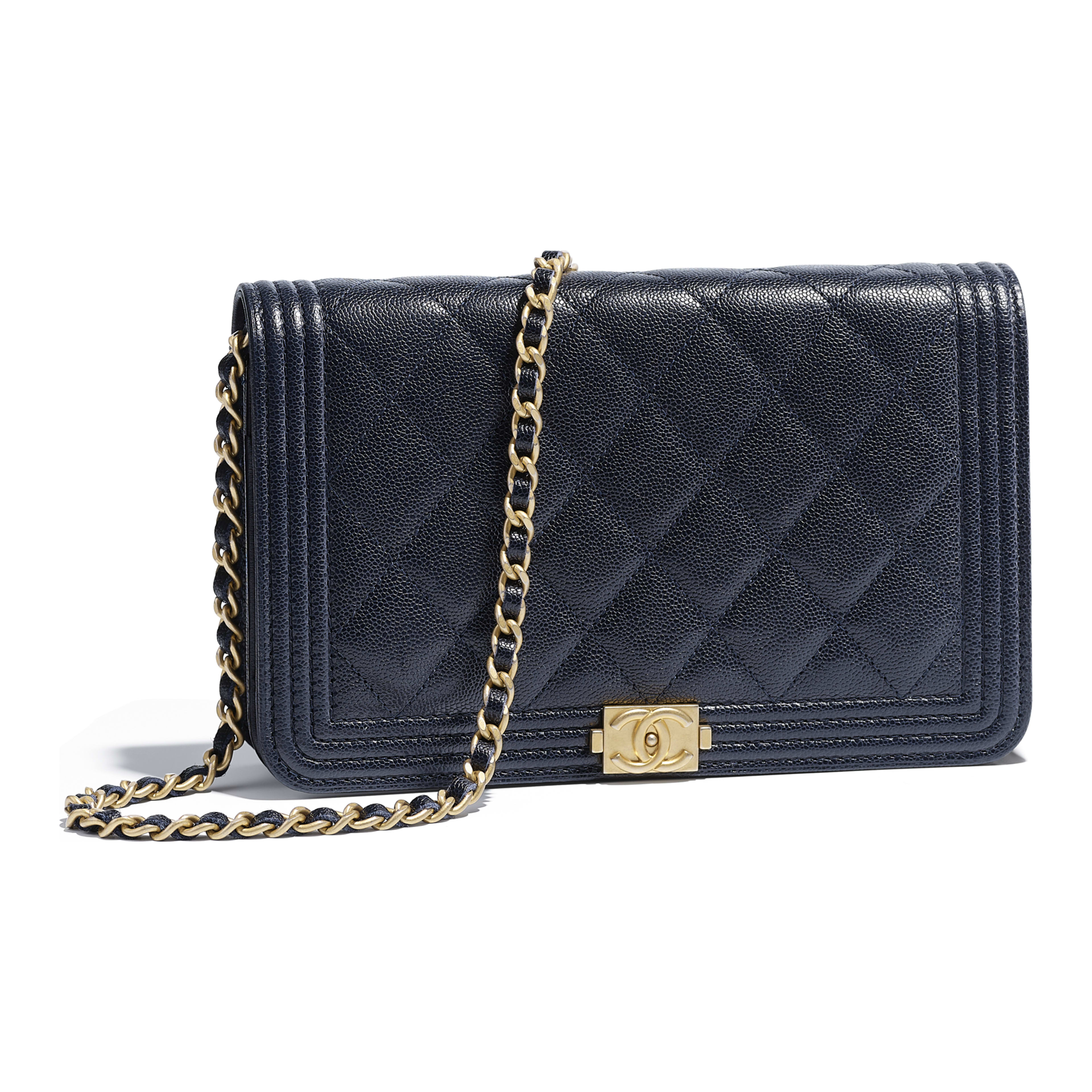 62c8cccb8e67 Grained Calfskin & Gold-Tone Metal Navy Blue BOY CHANEL Wallet on Chain |  CHANEL