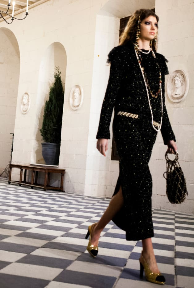 image 2 - Dress - Embroidered Tweed - Black, Gold & White