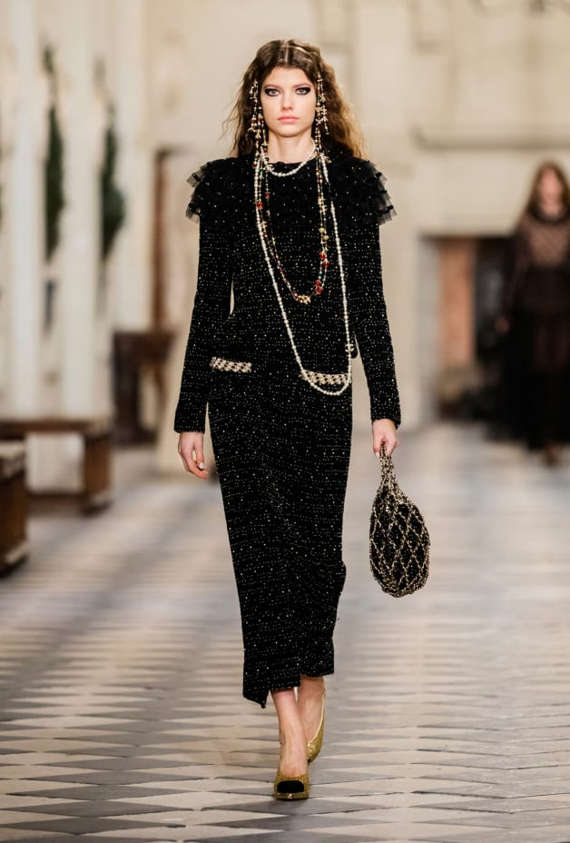 image 1 - Dress - Embroidered Tweed - Black, Gold & White