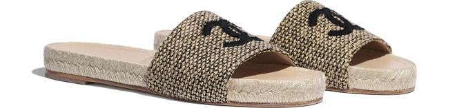 Mules, tweed \u0026 grosgrain, gold, beige