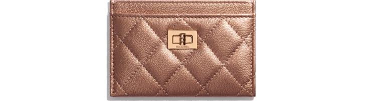 image 1 - 2.55 Card Holder - Metallic Grained Calfskin & Copper-Tone Metal - Copper
