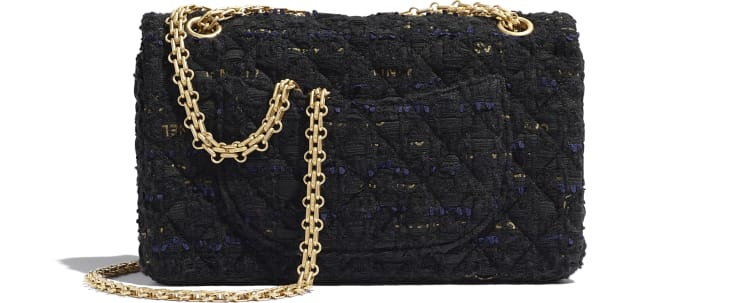 image 2 - 2.55 Handbag - Tweed & Gold-Tone Metal - Black, Navy Blue & Gold