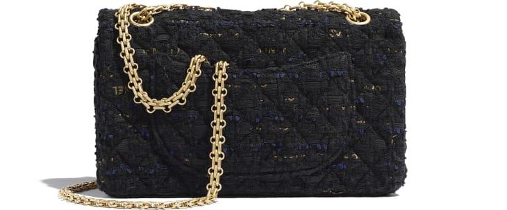 image 2 - Sac 2.55 - Tweed & métal doré - Noir, bleu marine & or