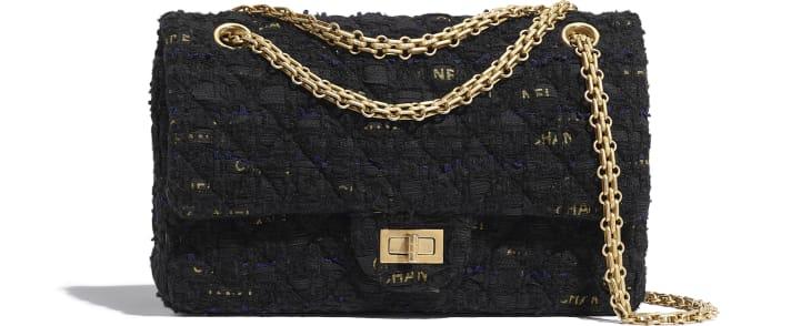 image 1 - 2.55 Handbag - Tweed & Gold-Tone Metal - Black, Navy Blue & Gold