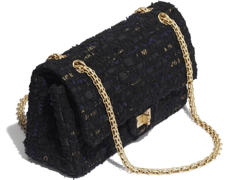 image 4 - 2.55 Handbag - Tweed & Gold-Tone Metal - Black, Navy Blue & Gold