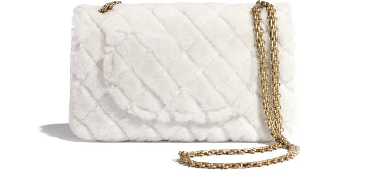 image 2 - 2.55 Handbag - Shearling Lambskin, Aged Calfskin & Gold-Tone Metal - White